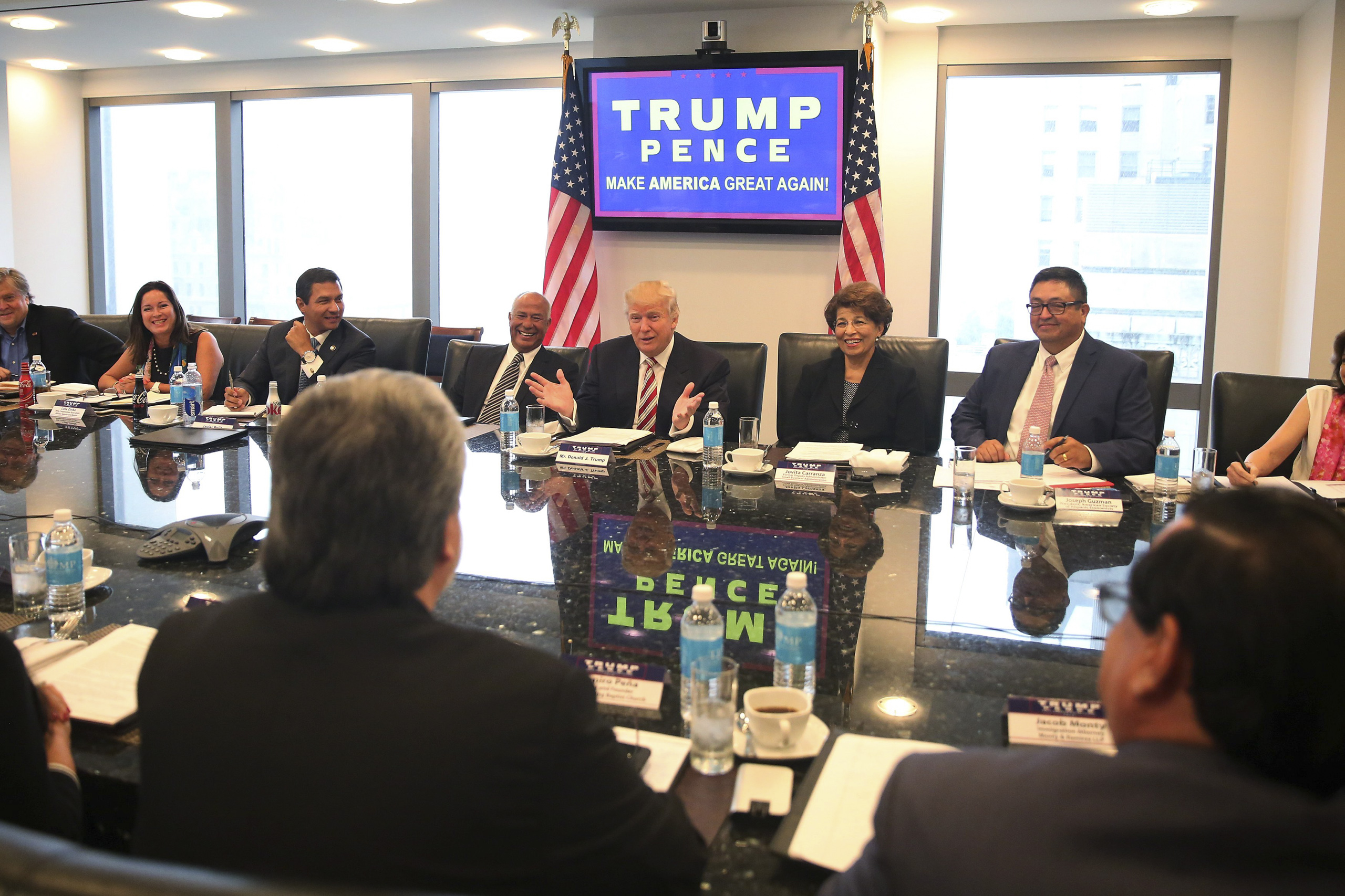 Republican presidential nominee Donald Trump speaks during a meeting with his Hispanic Advisory Council at Trump Tower in the Manhattan borough of New York City on Aug. 20, 2016.