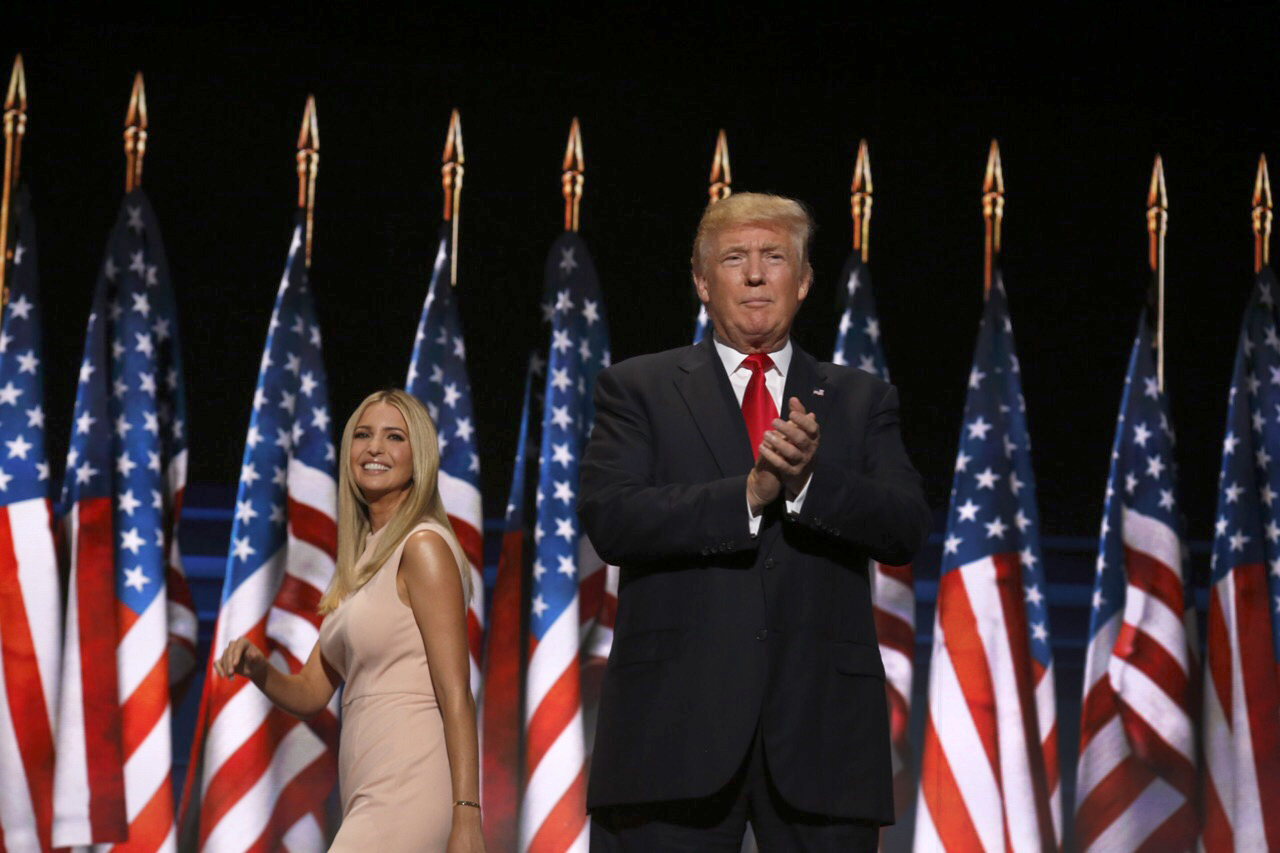 Republican presidential candidate Donald Trump takes the stage after being introduced by his daughter Ivanka Trump during the final day of the 2016 Republican National Convention at Quicken Loans Arena in Cleveland, Ohio, July 21, 2016. (Photo by Brian van der Brug/Los Angeles Times via Getty Images)