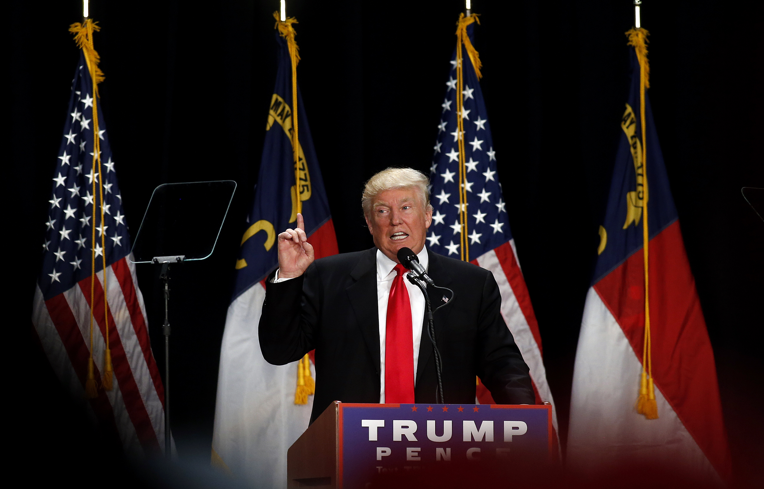 Donald Trump speaks to supporters at a rally at the Charlotte Convention Center in Charlotte, NC, Aug. 18, 2016.