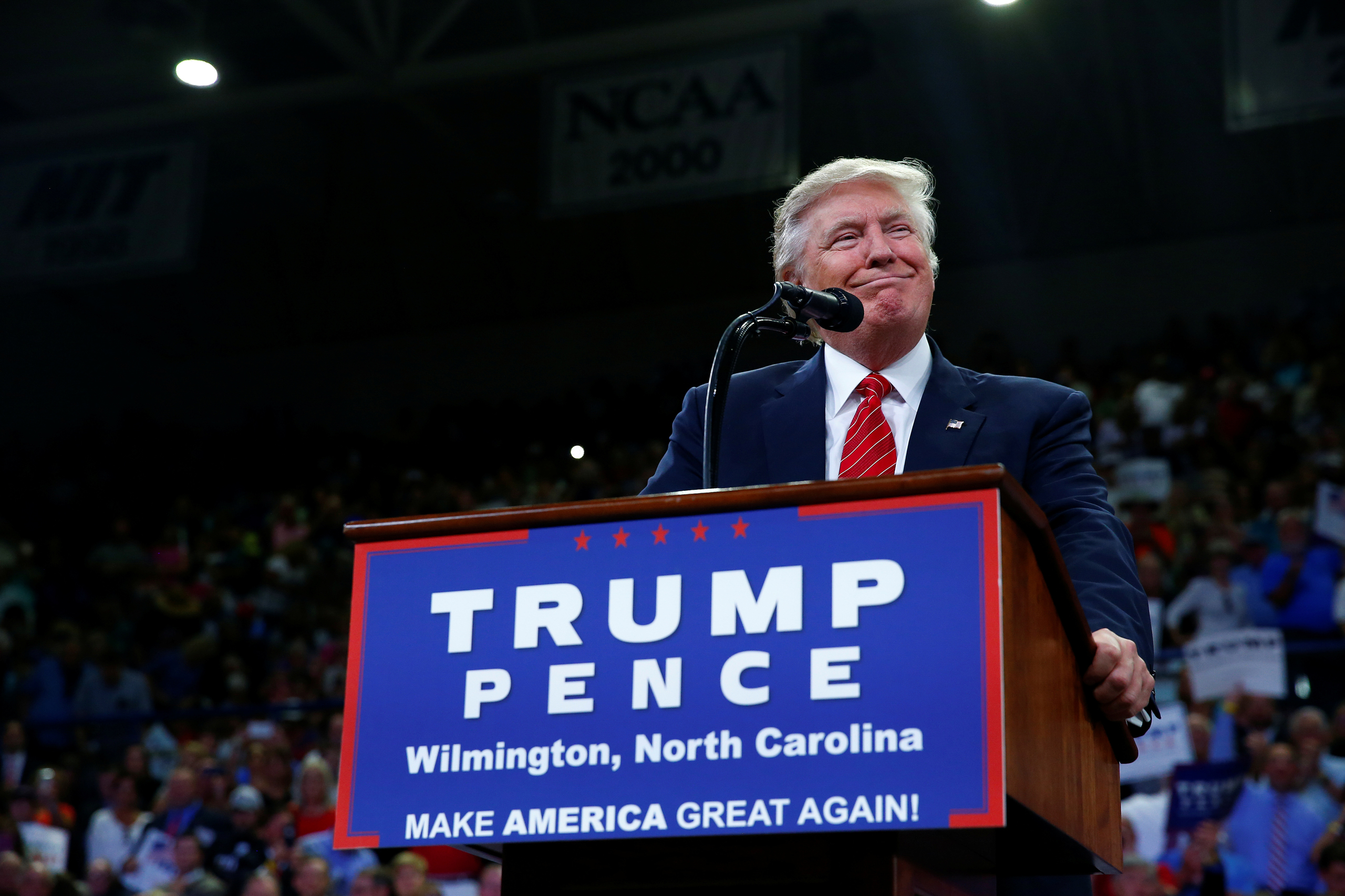 Republican U.S. presidential nominee Donald Trump speaks to the Trask Coliseum at University of North Carolina in Wilmington, N.C., on Aug. 9, 2016.