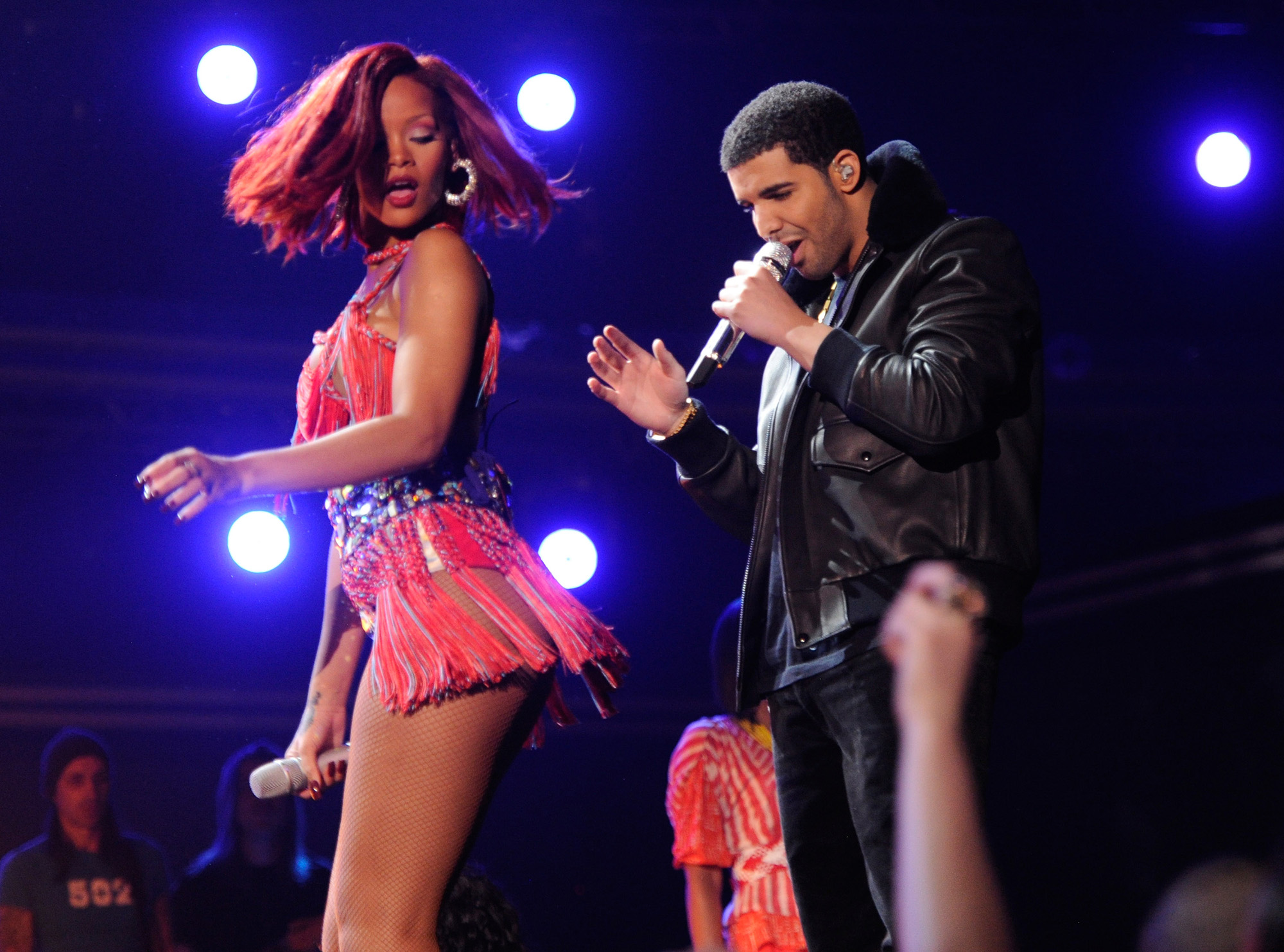 Drake and Rihanna perform onstage during The 53rd Annual GRAMMY Awards held at [f500link]Staples[/f500link] Center on February 13, 2011 in Los Angeles, California. (Photo by Kevin Mazur/WireImage)
