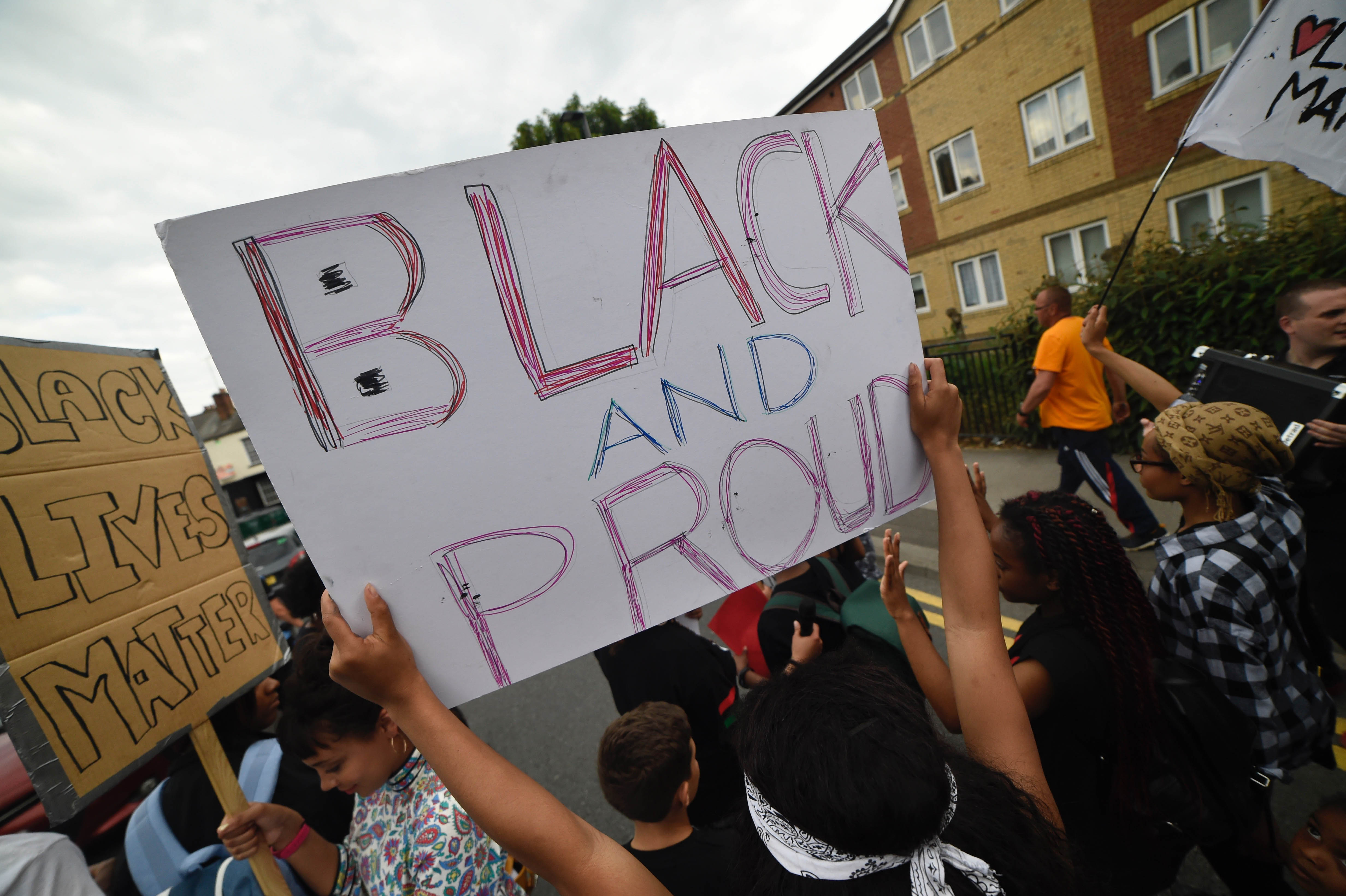 Hundreds protested at a Black Lives Matters peace march in Sheffield, UK, on 22 July 2016.