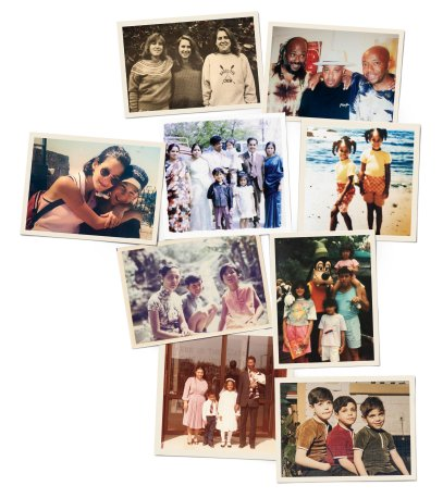 From left to right, top to bottom: 1. Wojcicki: Janet, Anne and Susan 2. Simmons: Danny, Joseph (Rev Run) and Russell 3. Antonoff: Rachel and Jack 4. Srinivasan: Sri, Srija and Srinija (pictured with their parents and other family members) 5. Dungey: Merrin and Channing 6. Lin: Tan and Maya (with their mother) 7. Rodriguez: Ivelisse, Rebecca and Gina (with their father) 8. Gay: Joel, Roxane and Michael Jr. (with their parents) 9. Emanuel: Zeke, Rahm and Ari