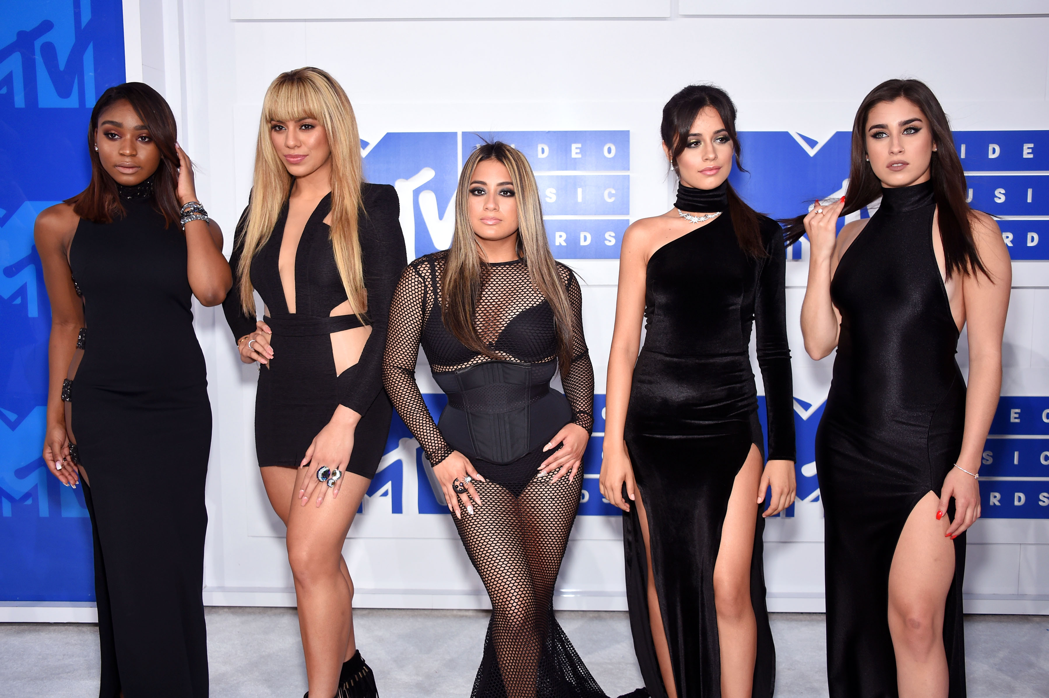 Normandi Kordei, Dinah Jane Hansen, Ally Brooke, Camila Cabello and Lauren Jauregui of Fifth Harmony attend the 2016 MTV Video Music Awards at Madison Square Garden.