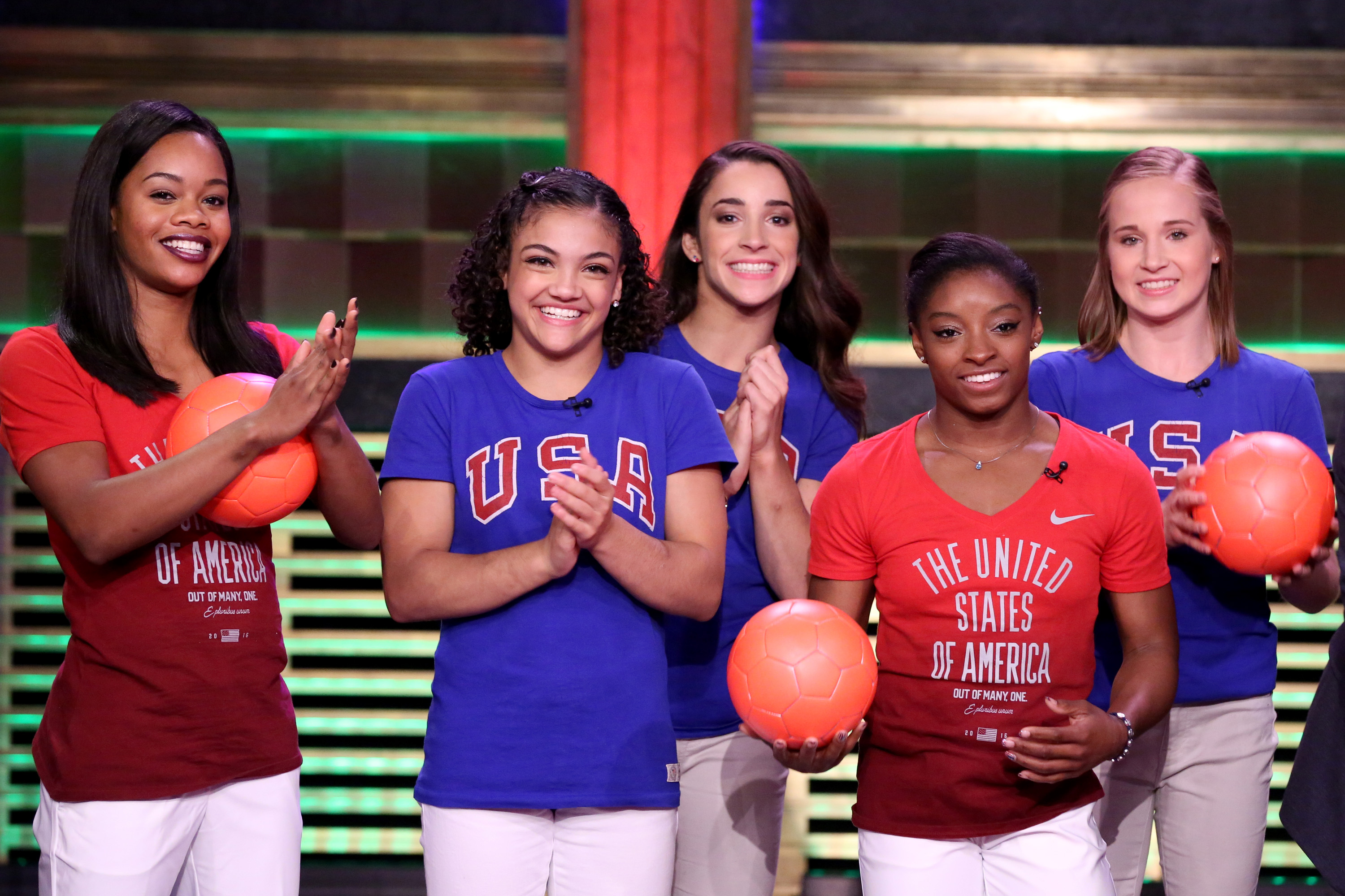 THE TONIGHT SHOW STARRING JIMMY FALLON -- Episode 0518 -- Pictured: (l-r) Gabby Douglas, Laurie Hernandez, Aly Raisman, Simone Biles, and Madison Kocian of the U.S. women's gymnastics team play  Hungry Hungry Humans  on August 23, 2016 -- (Photo by: Andrew Lipovsky/NBC/NBCU Photo Bank via Getty Images)