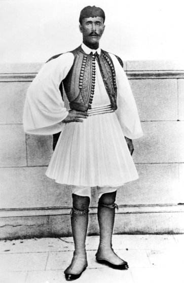 Spyridon Louis of Greece, the winner of the first marathon in the 1896 Summer Olympic Games held in Athens, Greece.