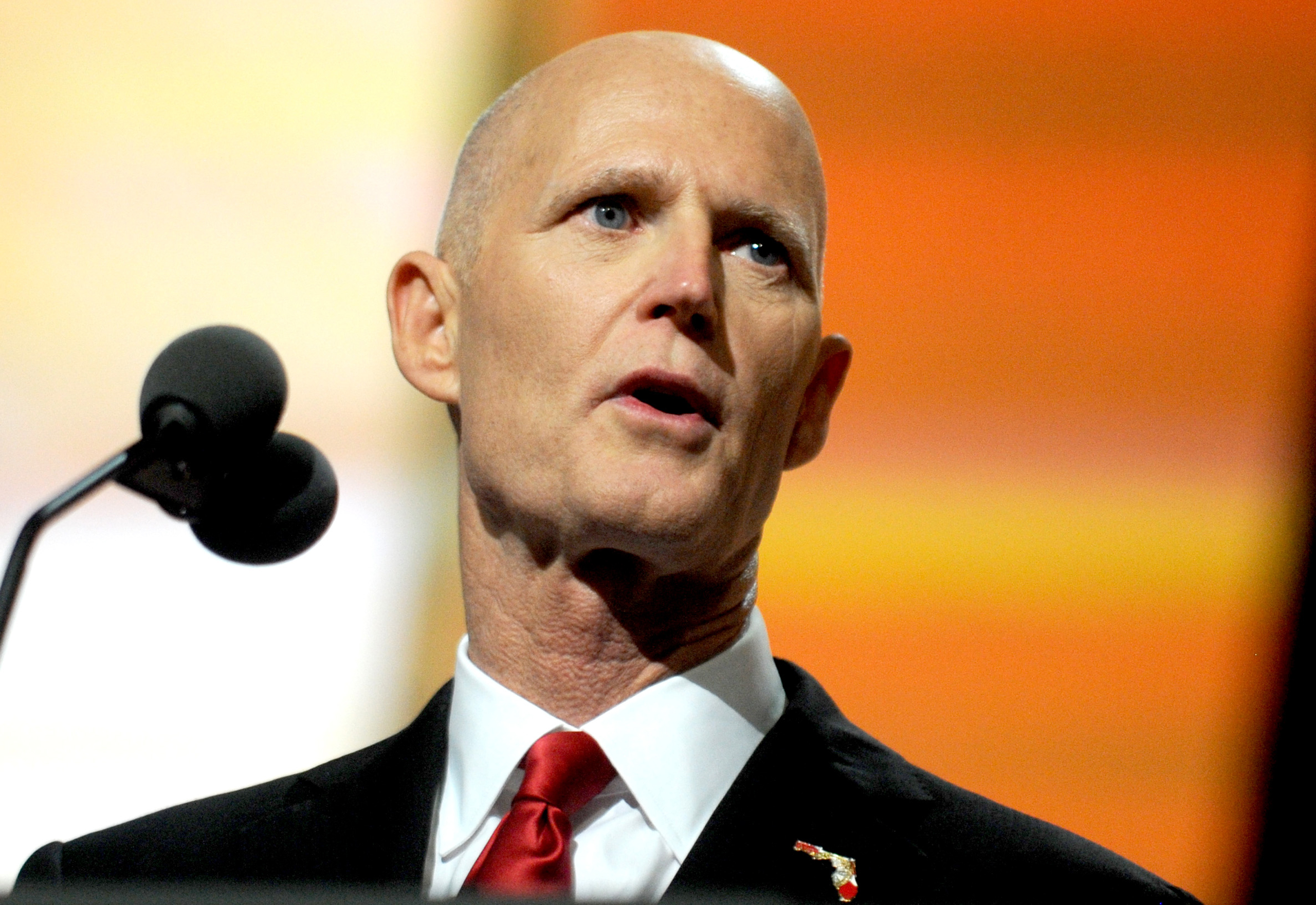 Florida Governor Rick Scott delivers a speech on the third day of the Republican National Convention at the Quicken Loans Arena in Cleveland, Oh.,  on July 20, 2016.
