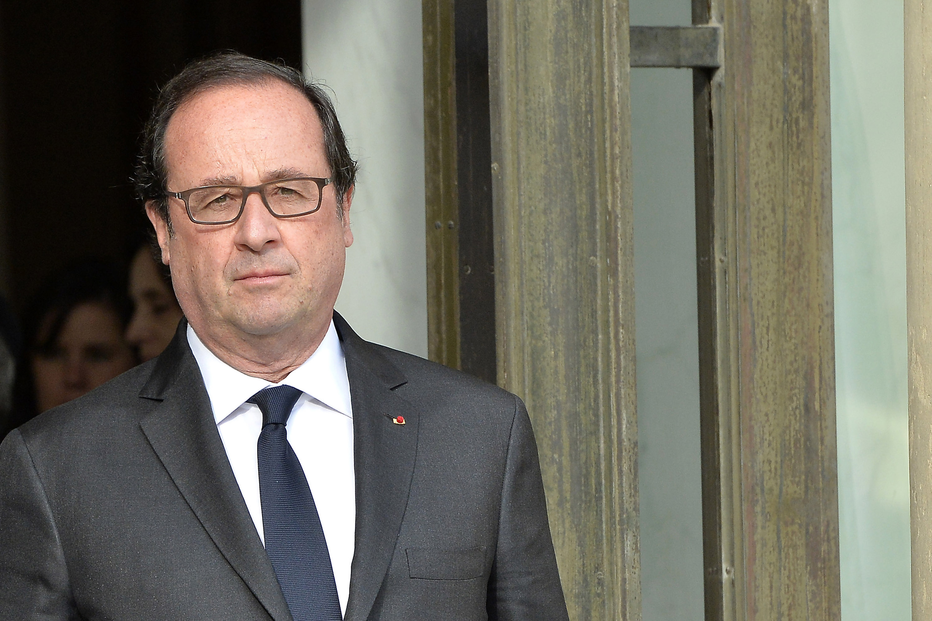 French President, Francois Hollande is seen after the meeting with the representatives of religions at Elysee Palace on July 27, 2016 in Paris, France.