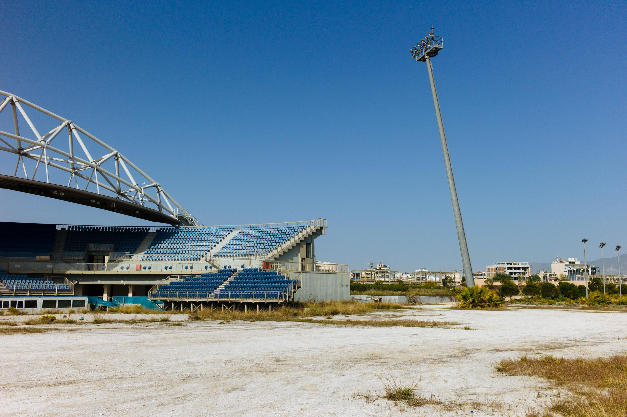 The Faliro Olympic Beach Volleyball Center in Athens, which hosted the 2004 Summer Olympics, photographed in April 2012.