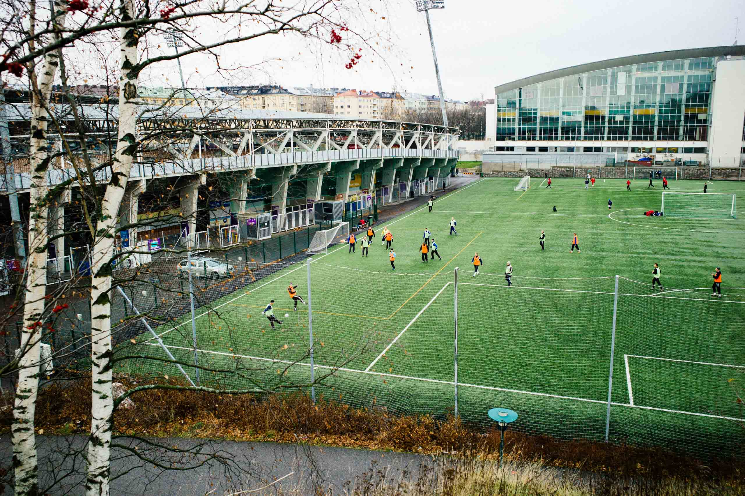 A soccer field as seen from the Olympic stadium in Helsinki, host of the 1952 Summer Olympics, photographed in November 2012.