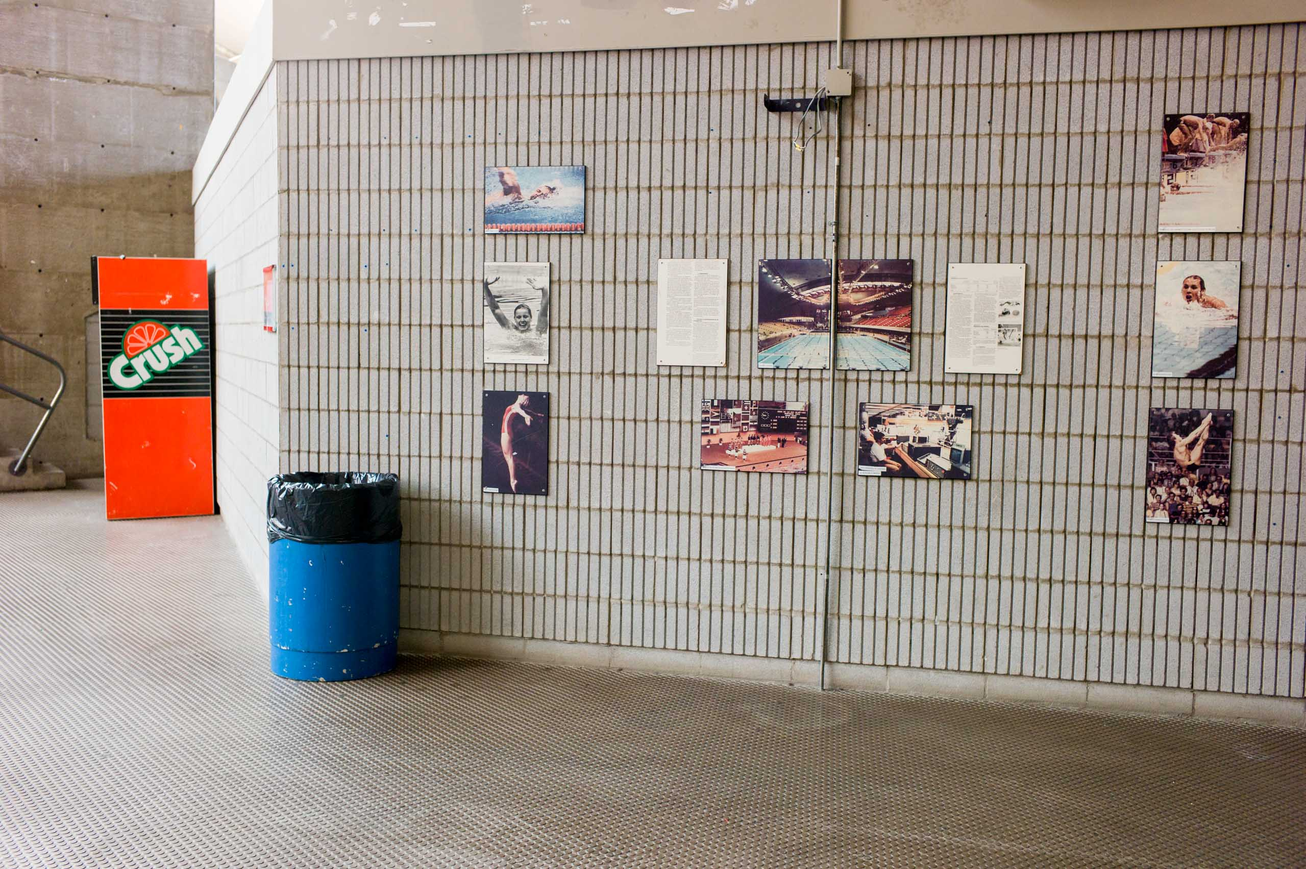 Pictures hang on the wall of the aquatics center in Montreal, host of the 1976 Summer Olympics, photographed in November 2008.
