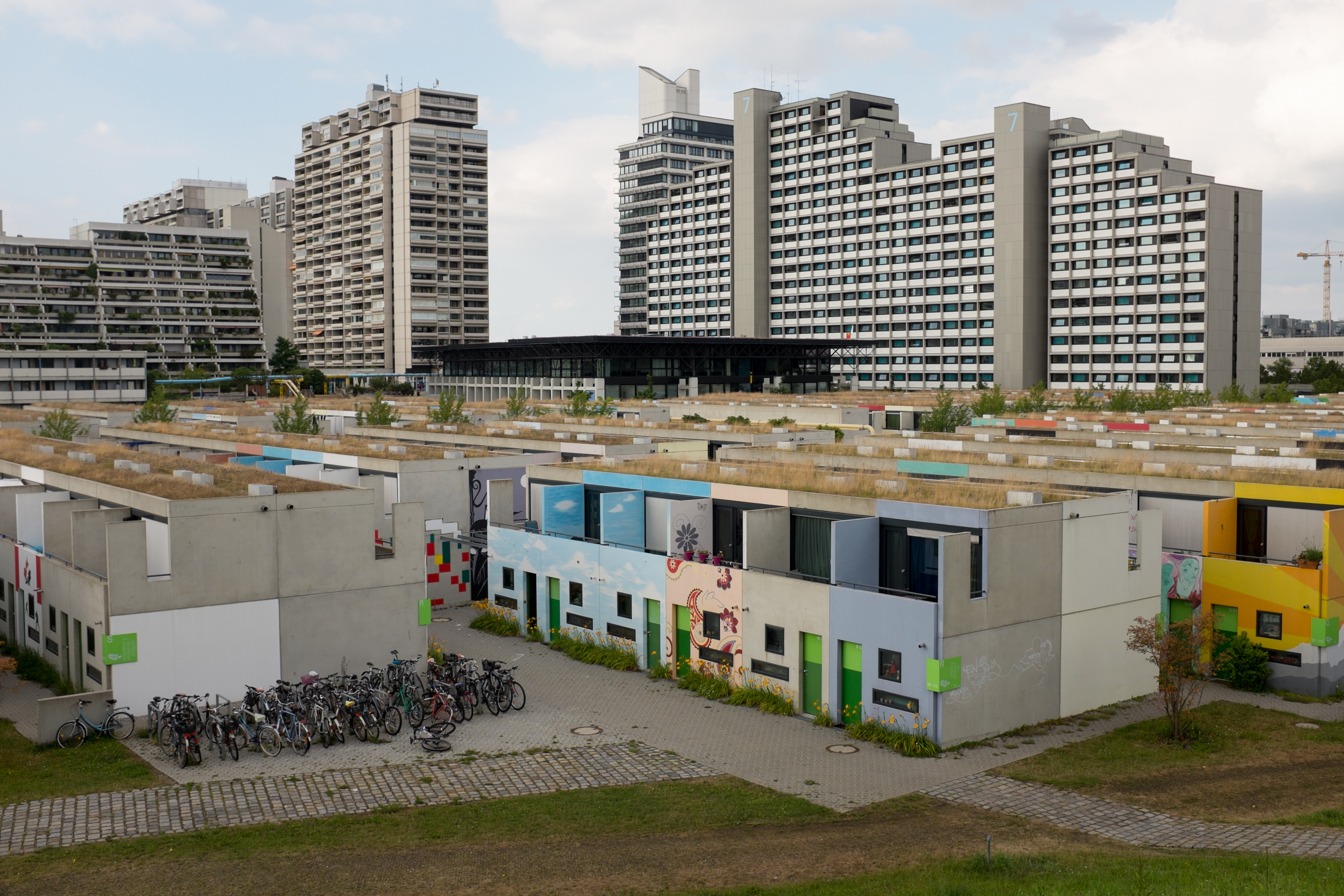 The Olympic Village in Munich, host of the 1972 Summer Olympics, photographed in July 2016.