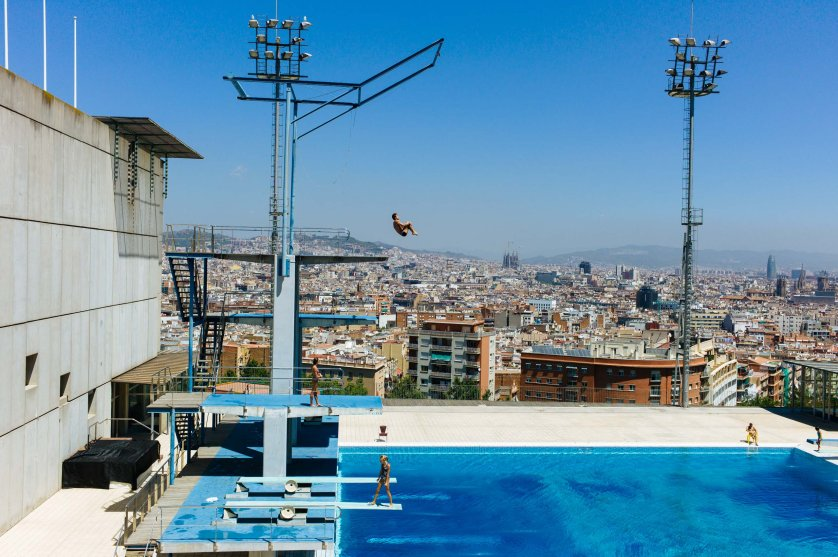 A view of the diving pool on Montjuïc hill overlooking Barcelona, host of the 1992 Summer Olympics, photographed in July 2012. Built decades earlier, it later hosted competitions and allowed public access.
