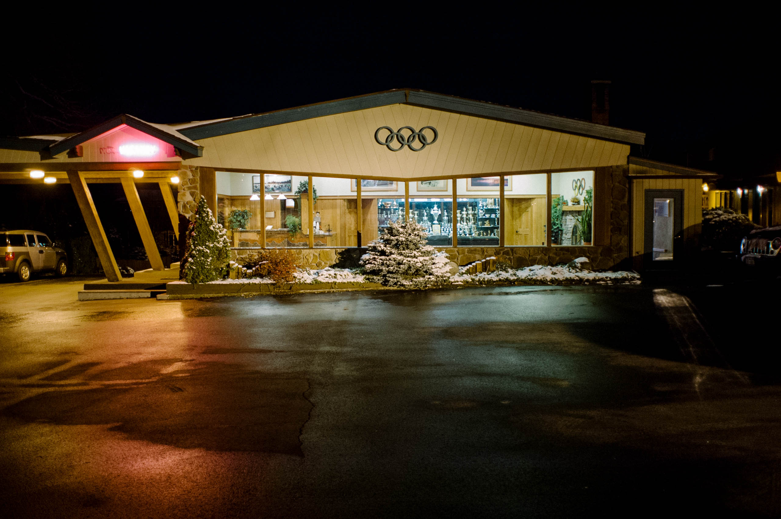 The Art Devlin's Olympic Motor Inn in Lake Placid, N.Y., host of the 1932 and 1980 Winter Olympics, photographed in November 2008. Devlin was a ski jumper and later started the motel business in the Adirondacks.