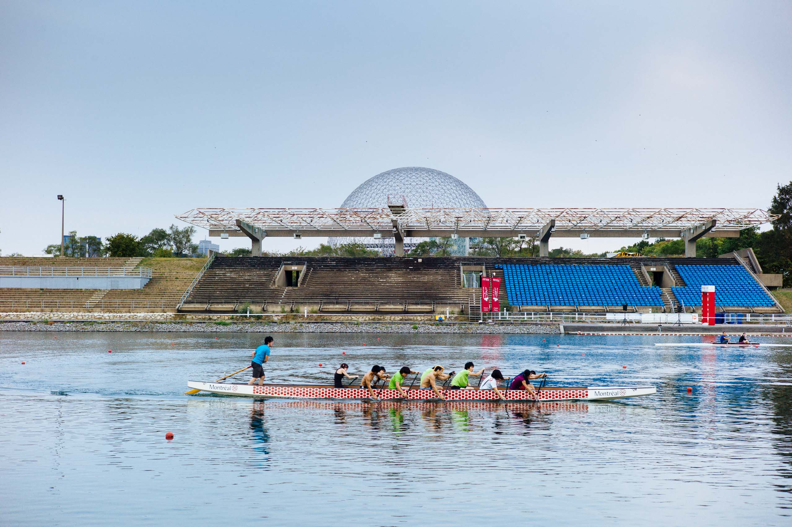 A group of rowers at the Olympic Basin in Montreal, host of the 1976 Summer Olympics, photographed in September 2012. Competitions for canoe-kayaking, rowing and other sports are still held at the site.