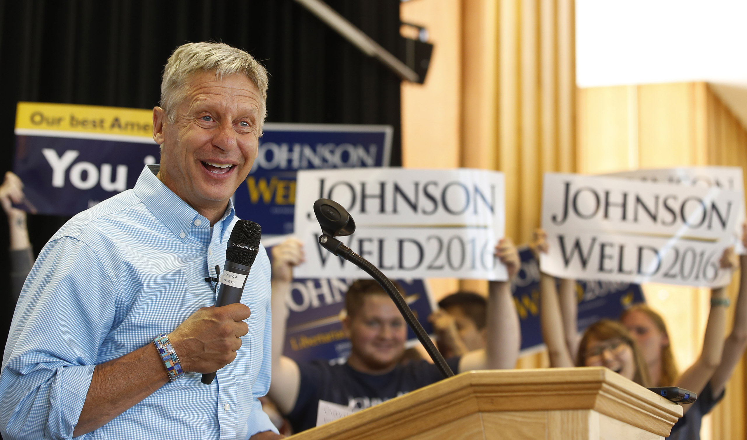 Libertarian presidential candidate Gary Johnson talks to a crowd of supporters at a rally in Salt Lake City, Utah, on Aug. 6, 2016.