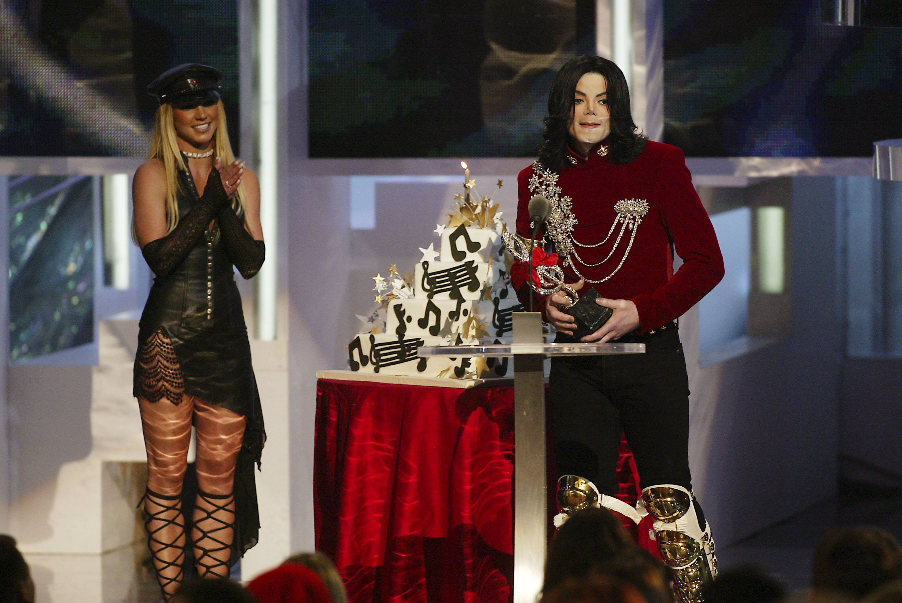 Britney Spears and Michael Jackson on stage at the 2002 MTV Video Music Awards at Radio City Music Hall in New York City, August 29, 2002. Photo by Scott Gries/ImageDirect.