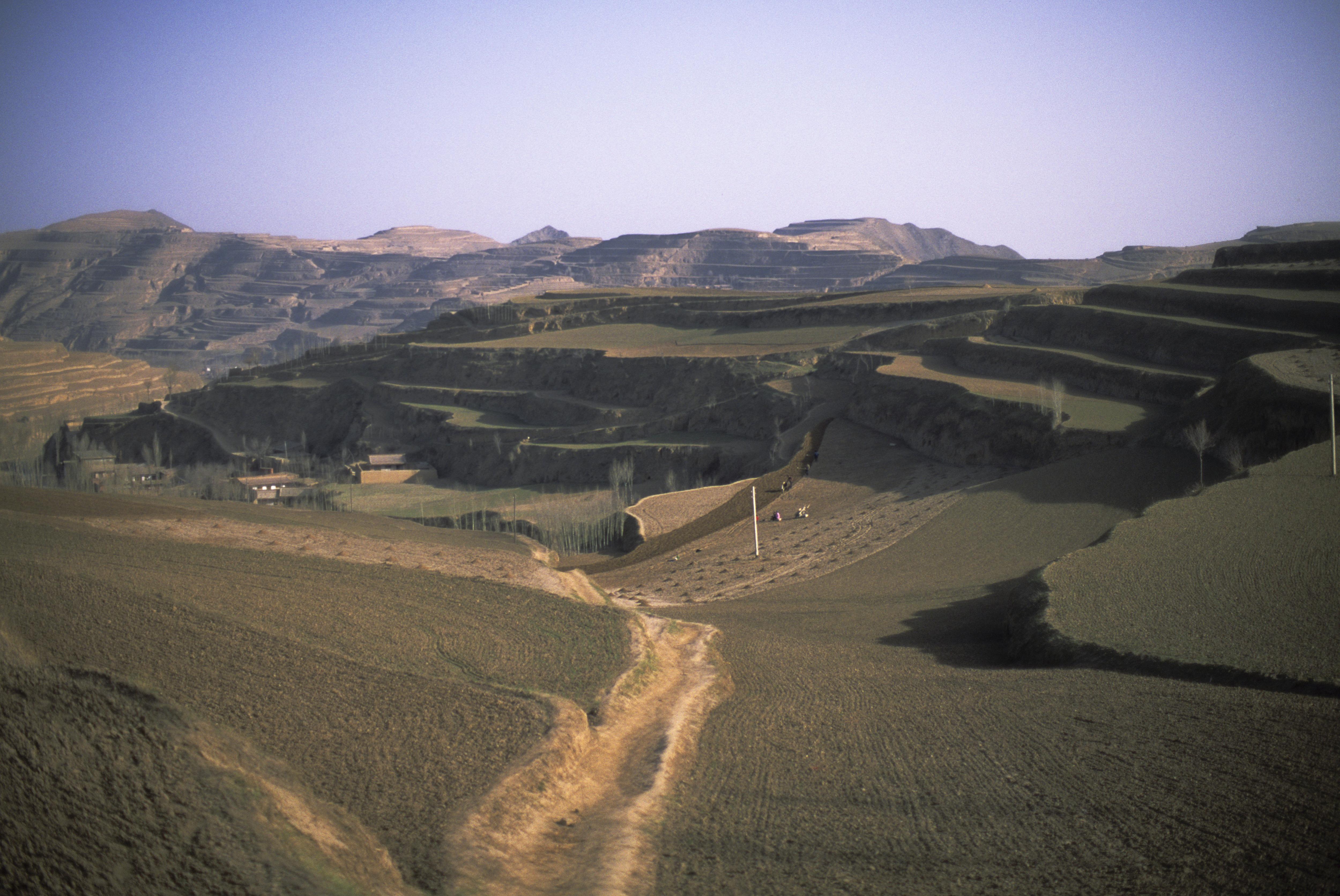 China, Gansu province, near Lanshou, fields, loess plateau.
