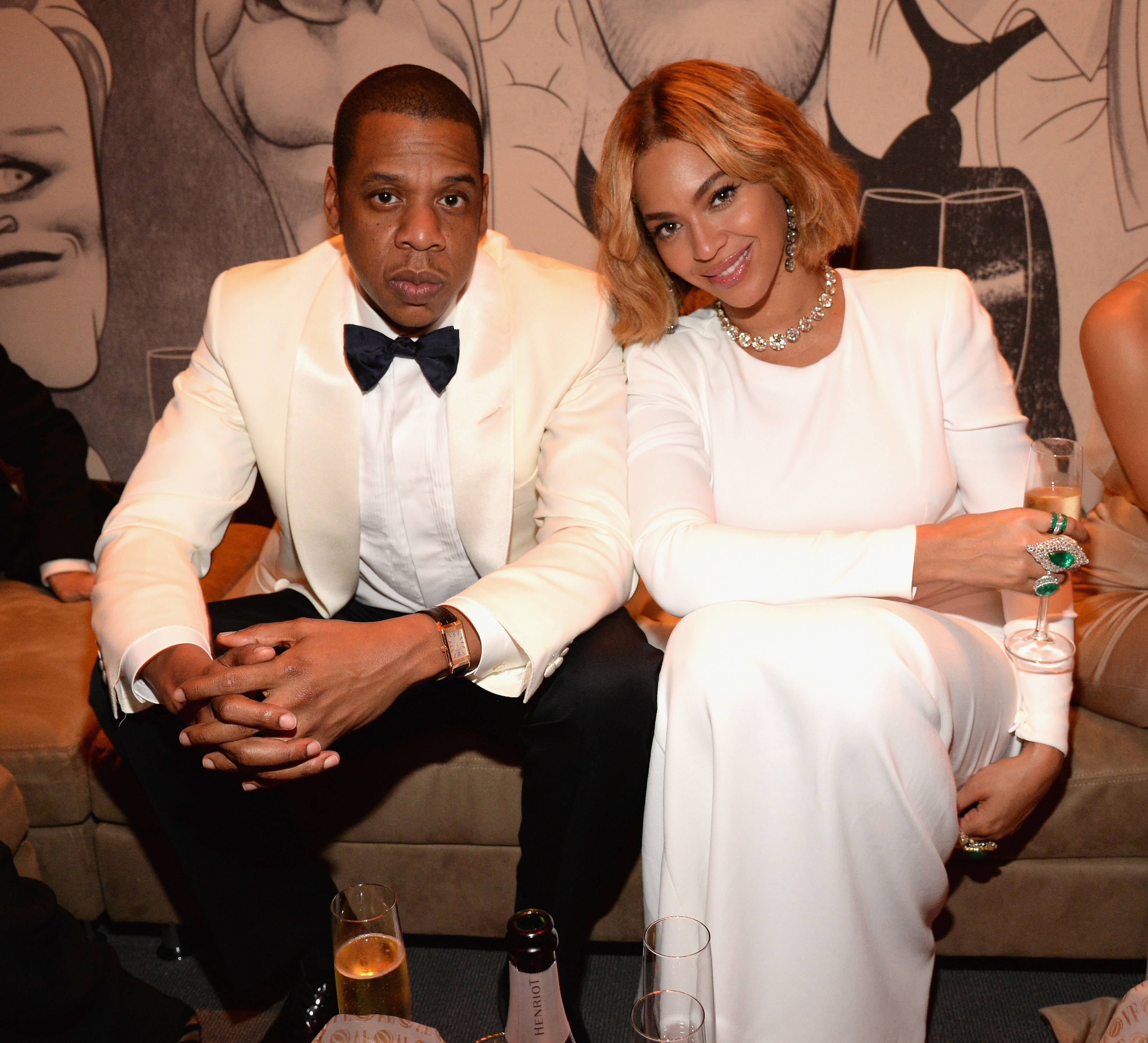 Jay Z and Beyonce attend the 2015 Vanity Fair Oscar Party on February 22, 2015 in Beverly Hills, California. (Photo by Kevin Mazur/VF15/WireImage)