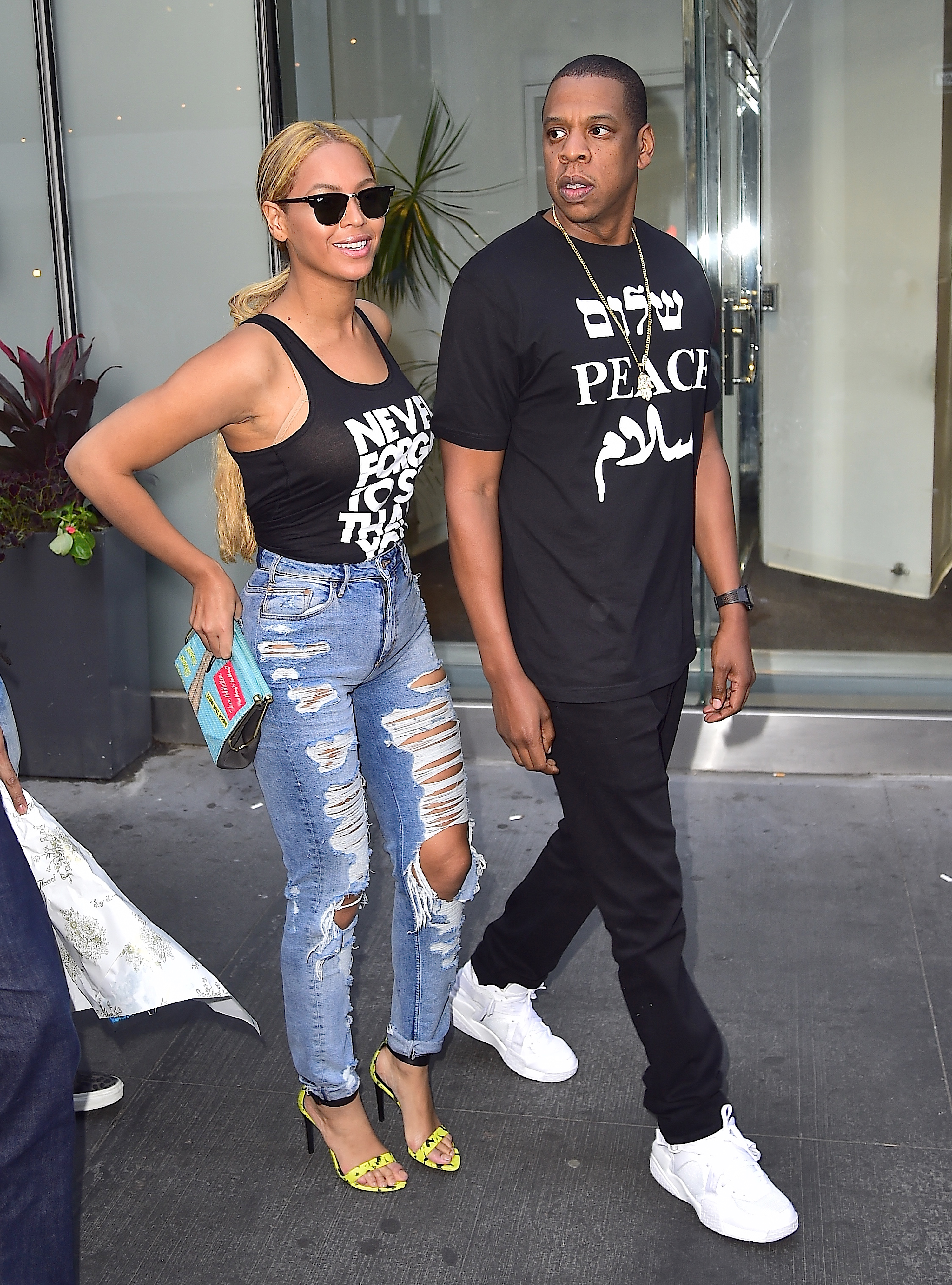 Beyonce and Jay Z are seen in Midtown on May 11, 2015 in New York City. (Photo by Alo Ceballos/GC Images)