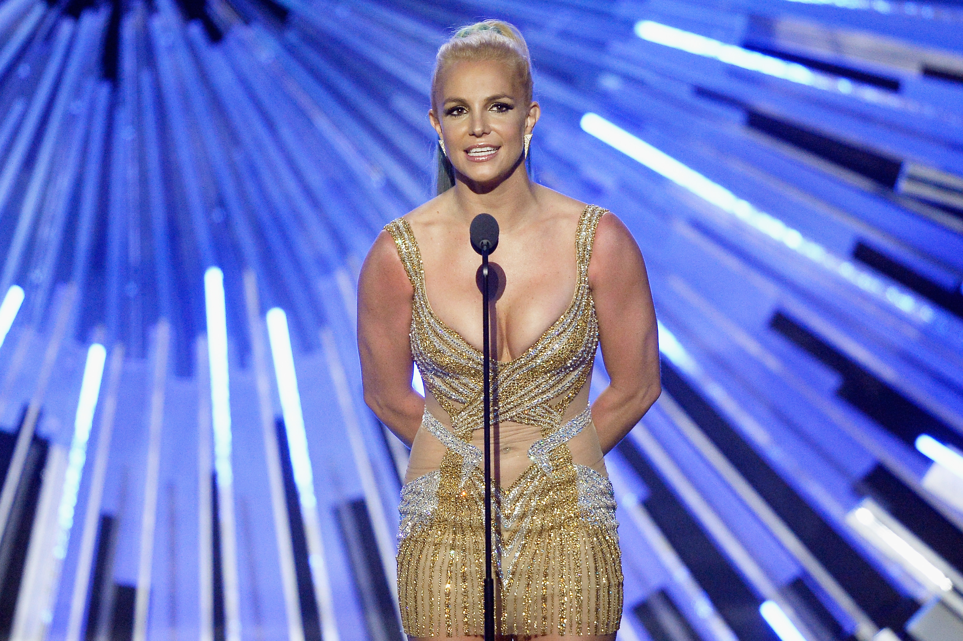 Britney Spears speaks onstage during the 2015 MTV Video Music Awards at [f500link]Microsoft[/f500link] Theater on August 30, 2015 in Los Angeles, California. (Photo by Kevork Djansezian/Getty Images)
