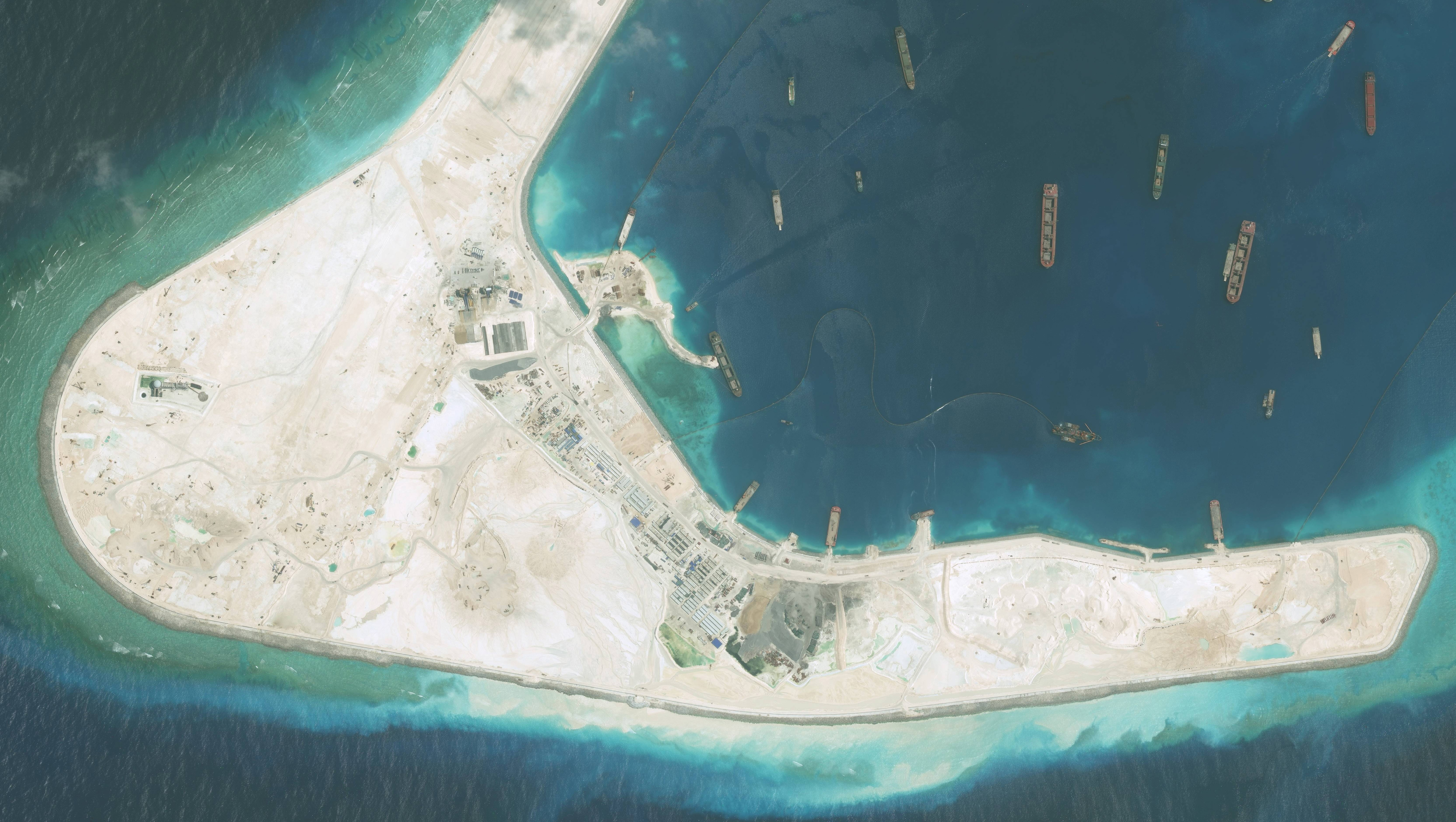 DigitalGlobe high-resolution imagery of the Subi Reef in the South China Sea, a part of the Spratly Islands group on September 1, 2015