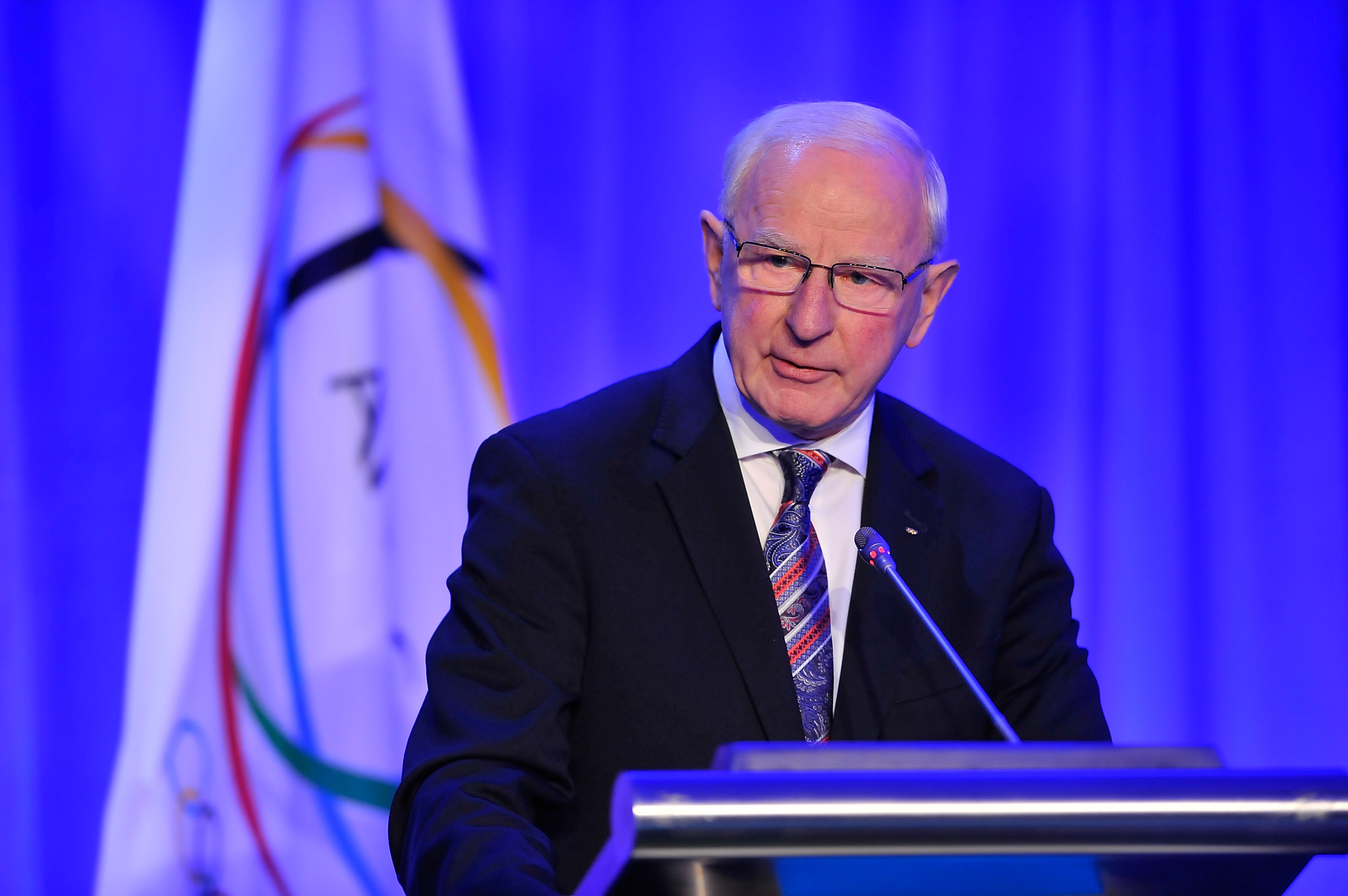 Patrick Hickey speaks at the XX ANOC General Assembly 2015 at the Hilton Hotel on Oct. 29, 2015, in Washington, D.C.