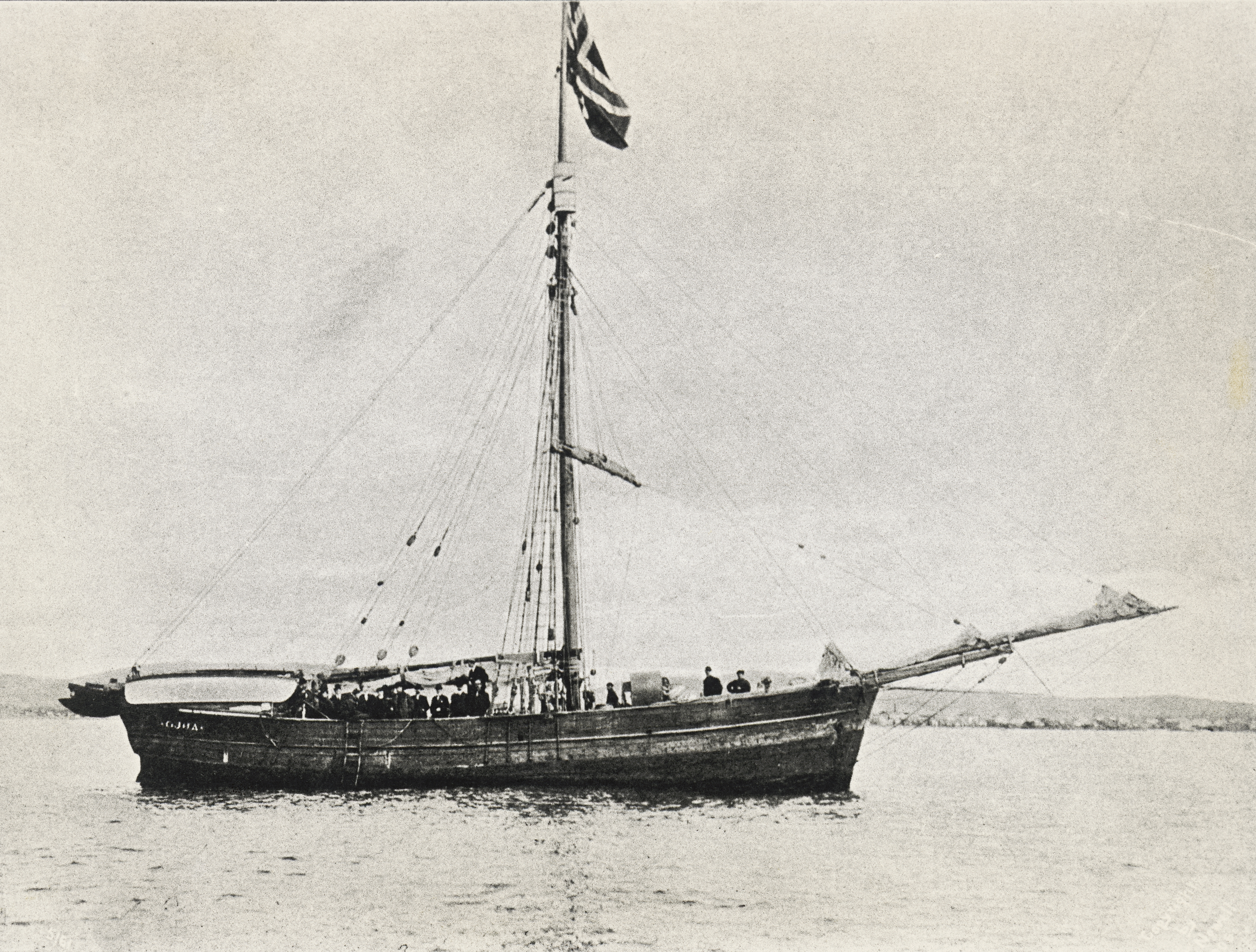 The Gjoa ship that Roald Amundsen used to sail through and open the Northwest Passage between the Atlantic and the Pacific, arriving in Nome (Alaska) August 30, 1906,