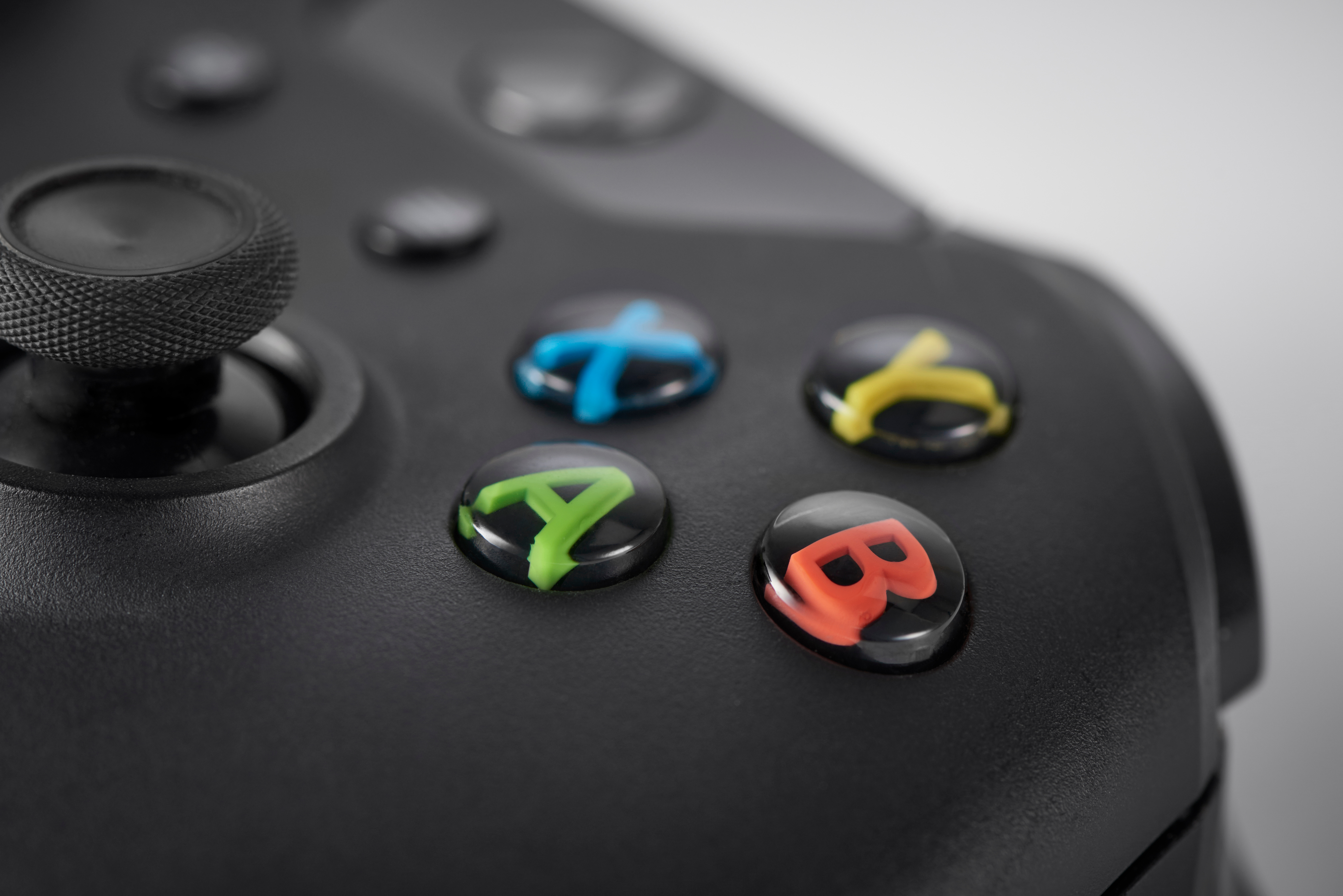 Detail of the buttons on a Microsoft Xbox One wireless controller, taken on January 22, 2016.
