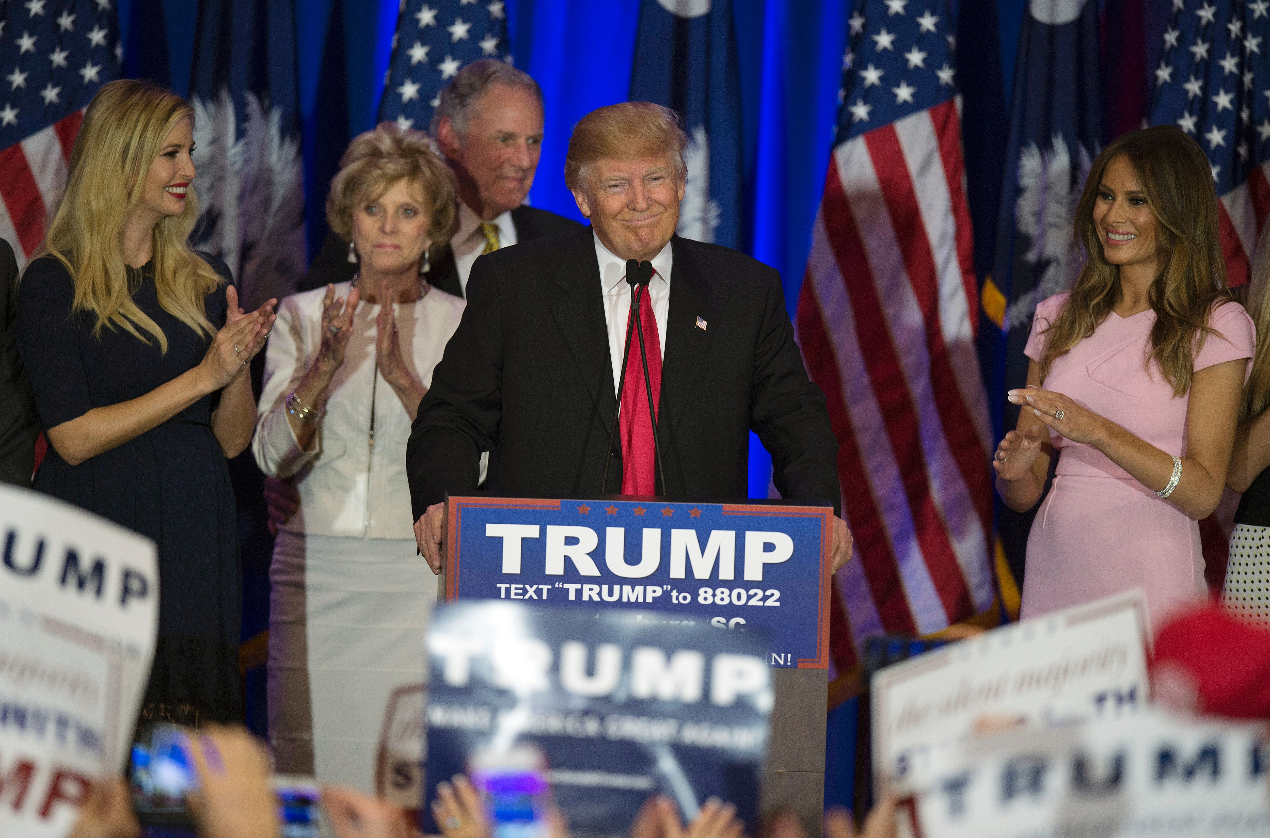 Republican presidential candidate Donald Trump celebrates winning the South Carolina primary in Spartanburg, South Carolina, February 20, 2016.  (JIM WATSON--AFP/Getty Images)