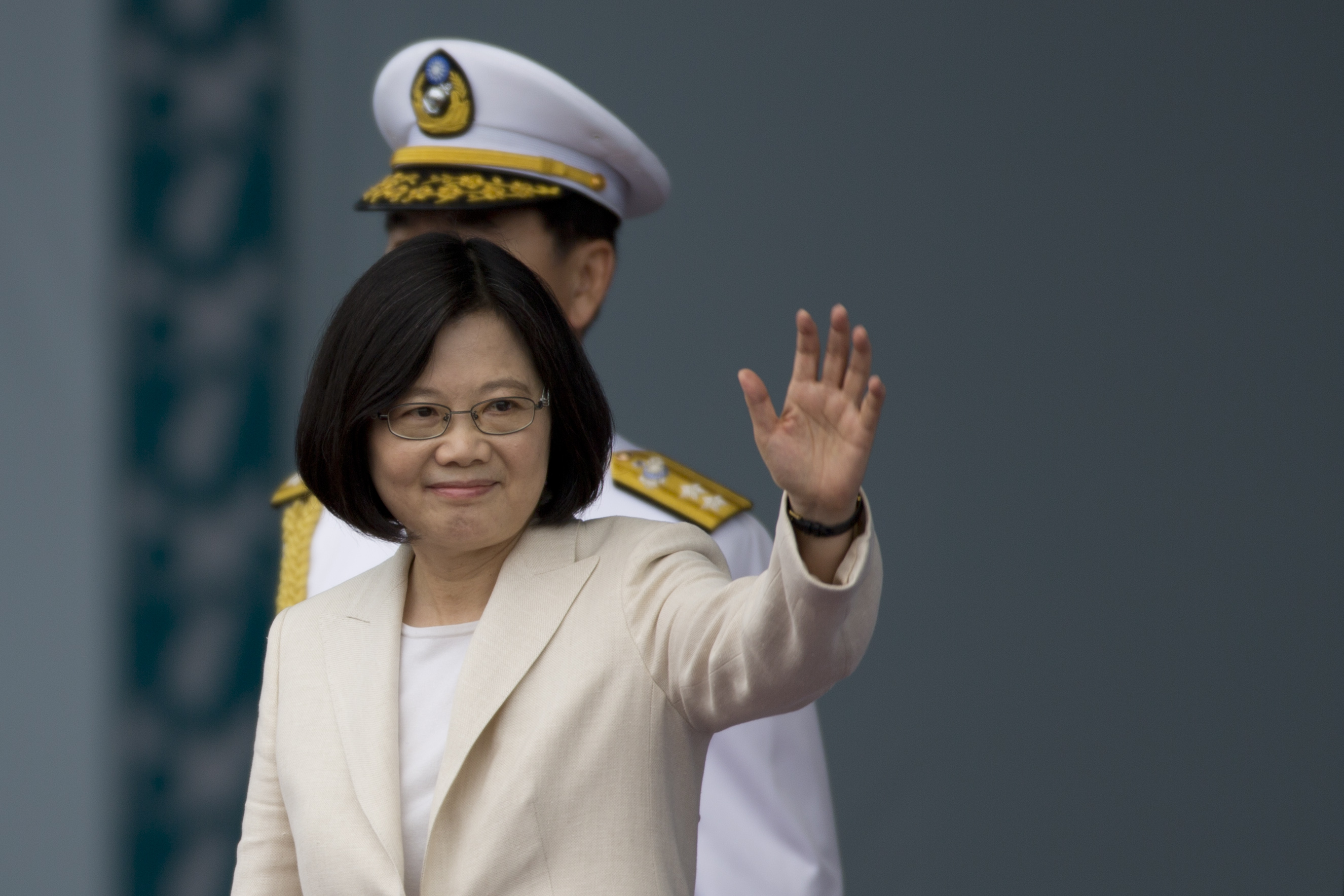 Taiwan President Tsai Ing-wen waves to the supporters at the celebration of the 14th presidential inauguration on May 20 in Taipei, Taiwan.
