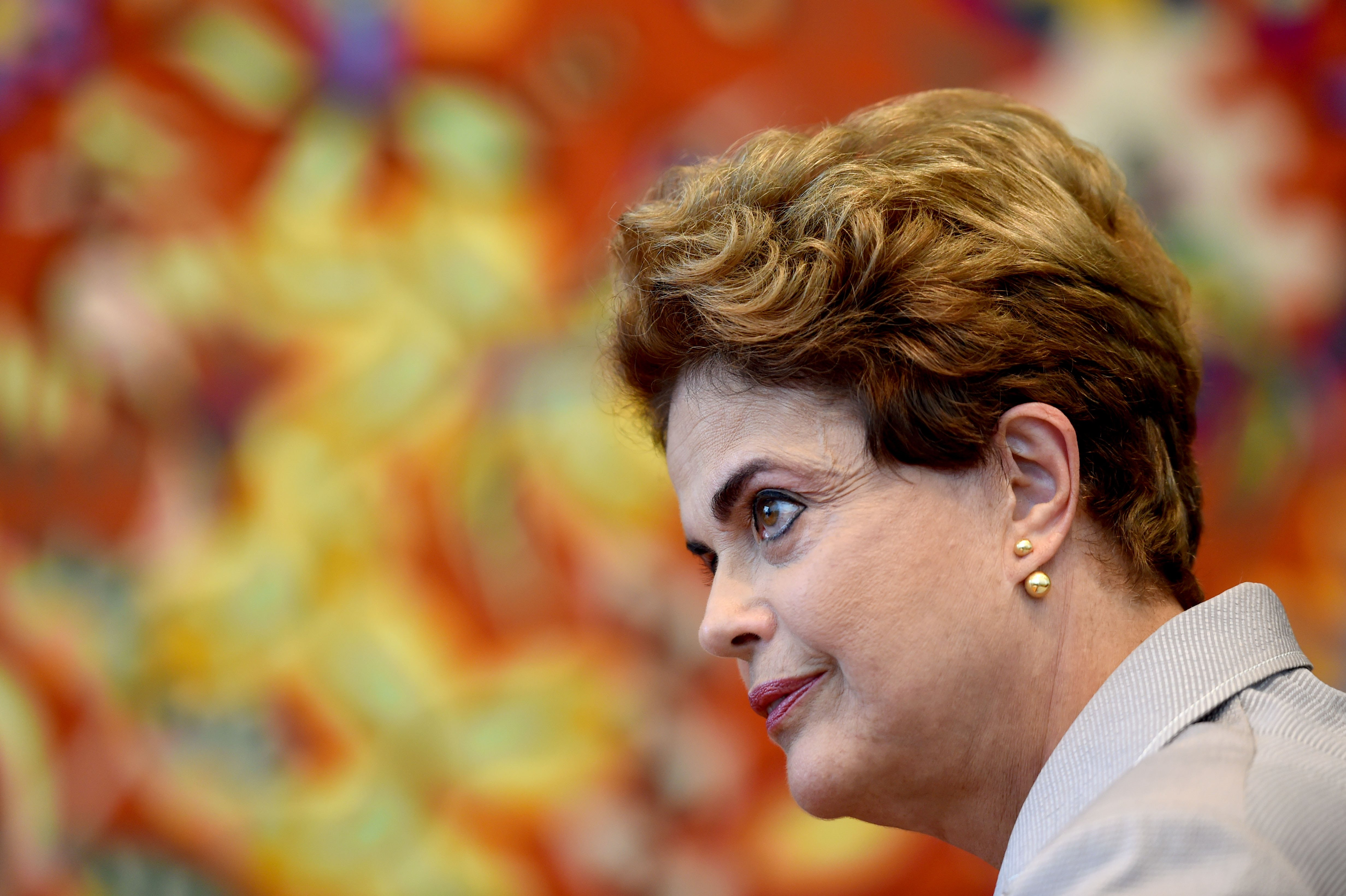 Suspended Brazilian President Dilma meets with foreign correspondents at Alvorada Palace in Brasília on June 14, 2016