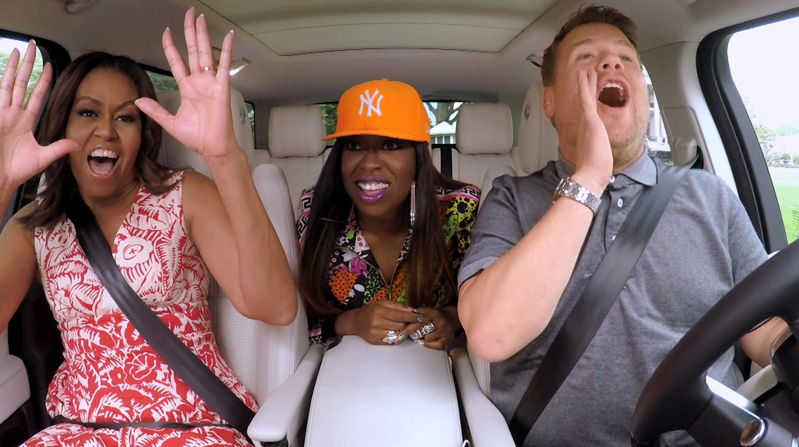 The First Lady Michelle Obama and Missy Elliott join James Corden for Carpool Karaoke on  The Late Late Show with James Corden,  Wednesday, July 20th 2016.