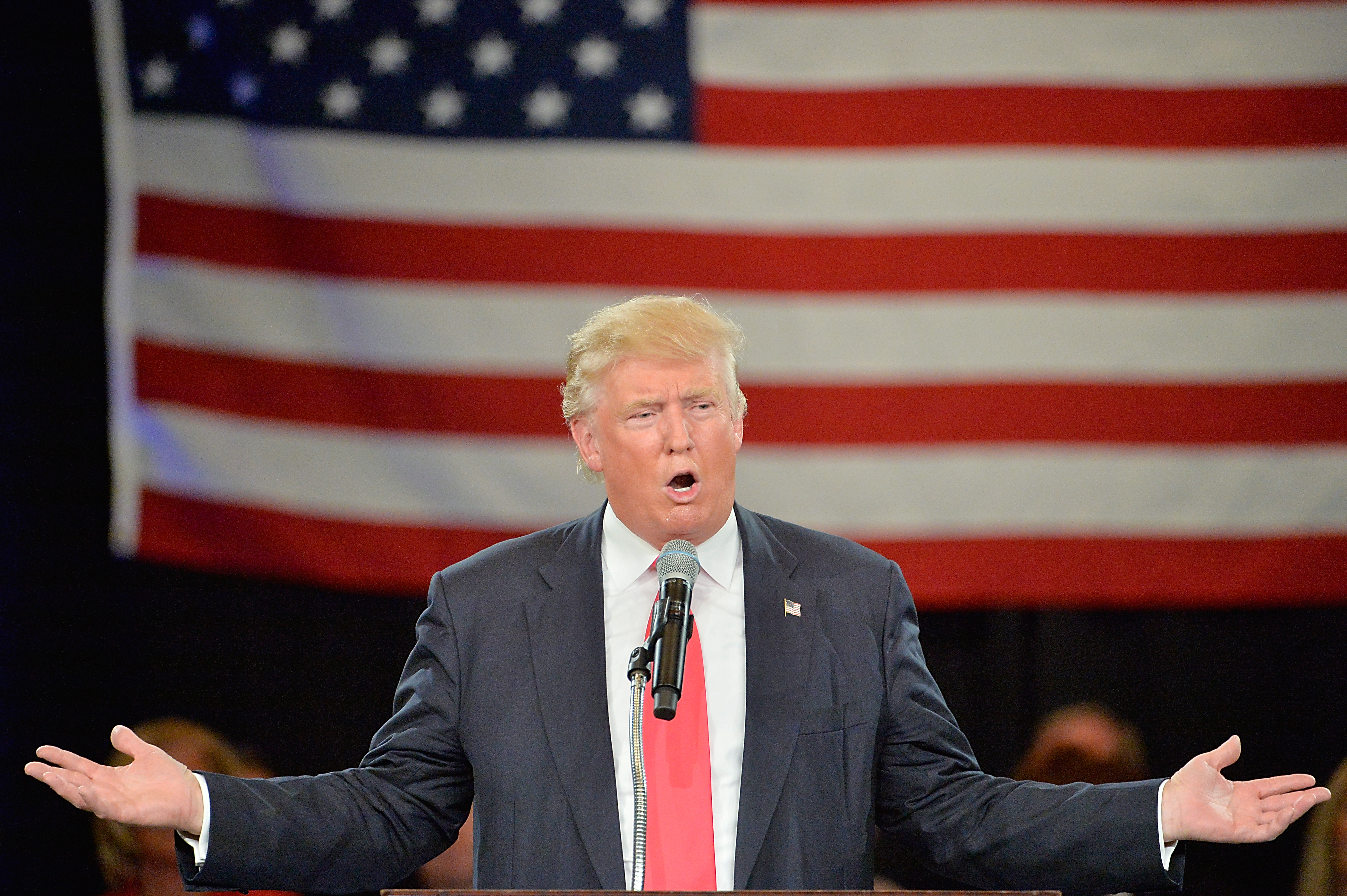 Republican presidential candidate Donald Trump address an audience at the The Hotel Roanoke & Conference Center on July 25, 2016 in Roanoke, Virginia.  Trump is campaigning with a bump in the polls following the Republican National Convention where he accepted the party's nomination.  (Photo by Sara D. Davis/Getty Images)