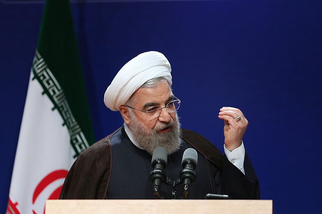 President of Iran Hassan Rouhani (4th L) delivers a speech during National Iranian Gas Company (NIGC) 50th establishment anniversary conference in Tehran, Iran on August 01, 2016.