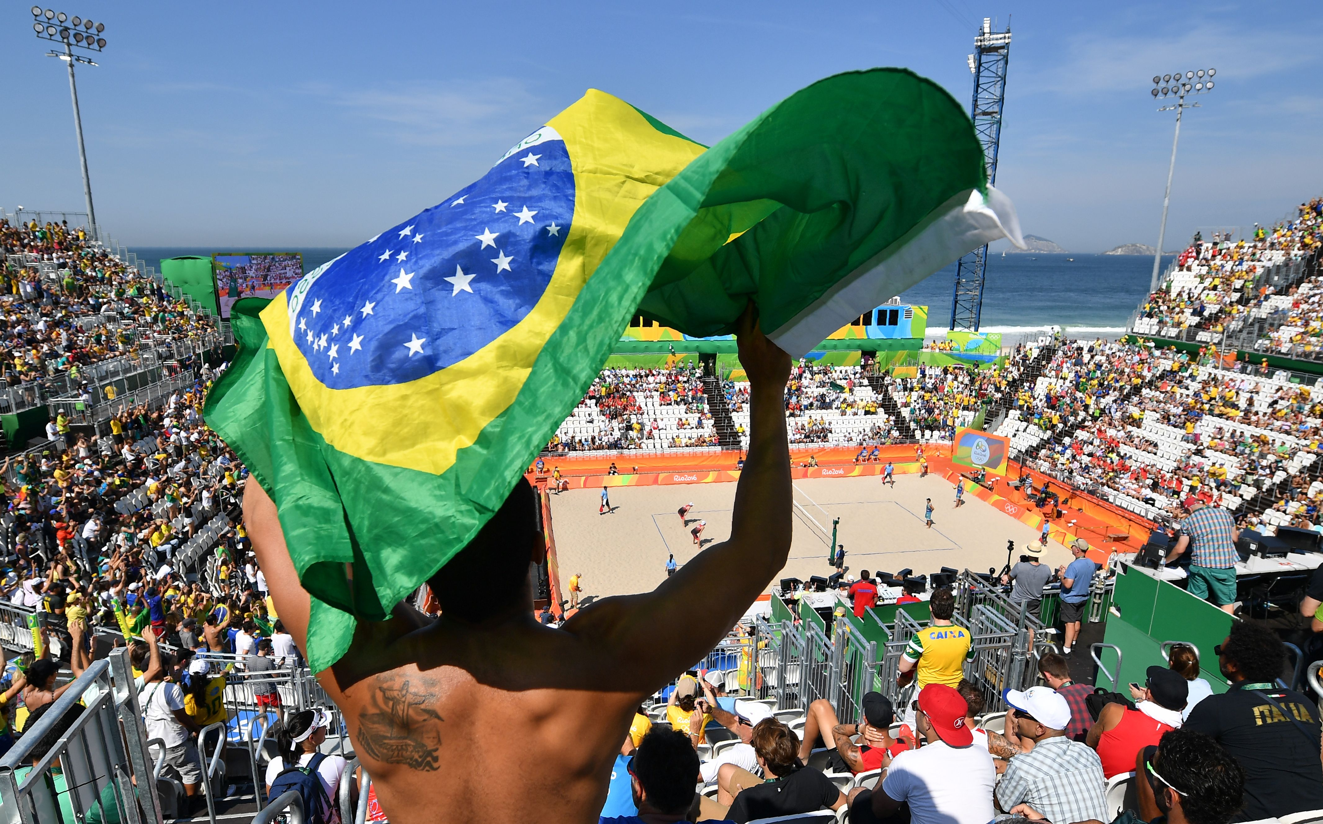 The women's beach volleyball qualifying match between Spain and Argentina at the Beach Volley Arena in Rio de Janeiro on Aug. 6, 2016.