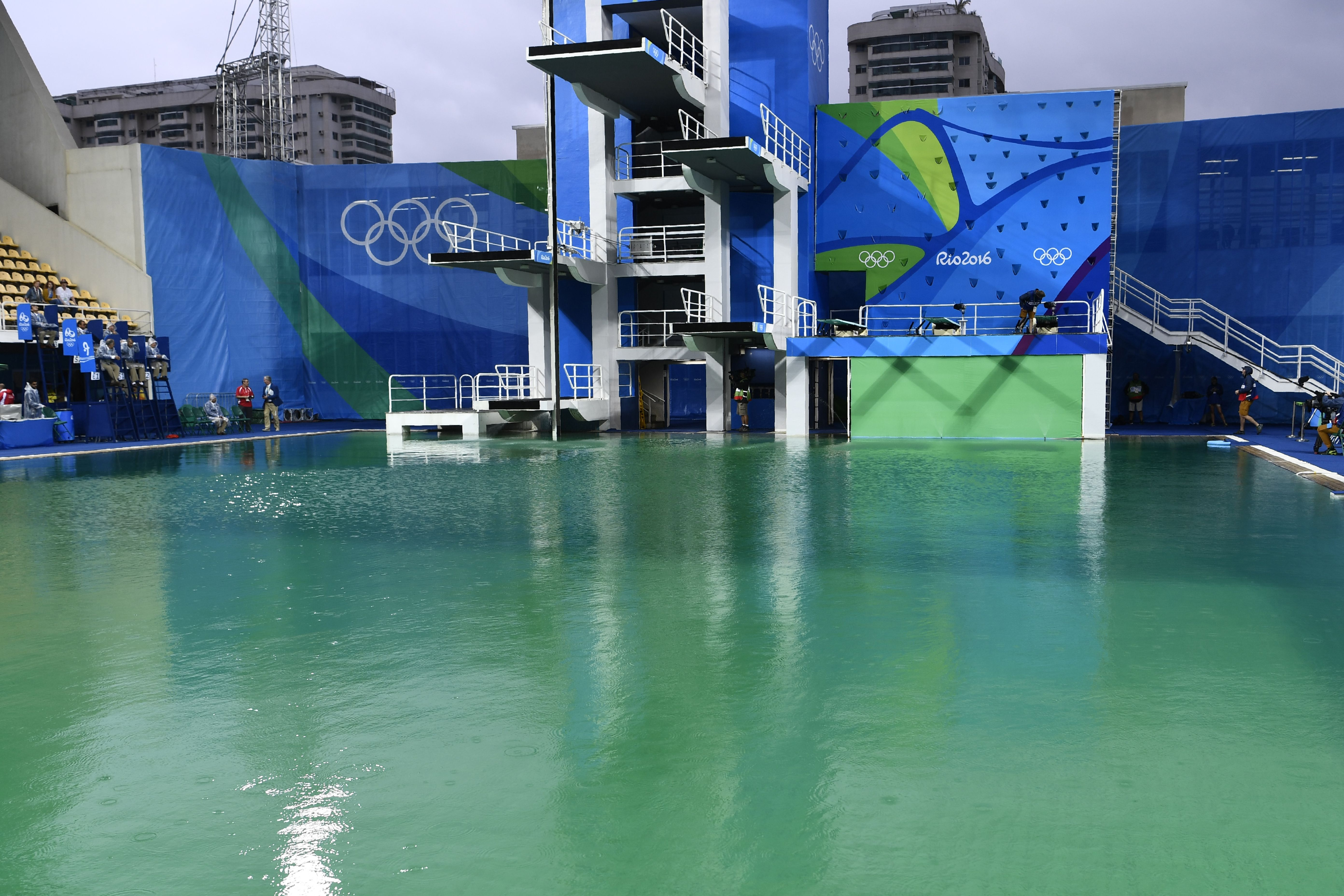 A picture taken on Aug. 10 at the Maria Lenk Aquatics Stadium in Rio de Janeiro shows the diving pool of the Rio 2016 Olympic Games.