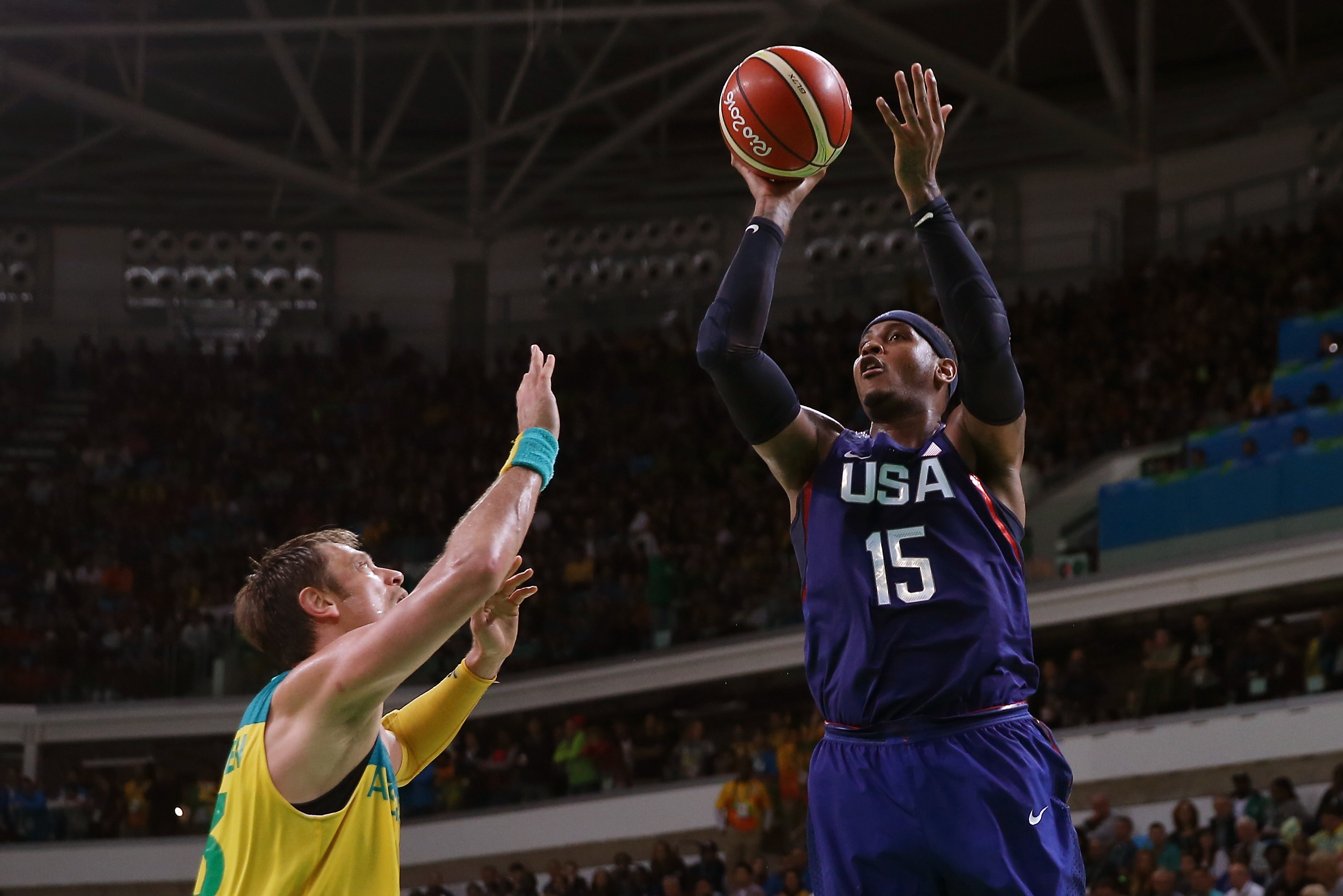 Carmelo Anthony of U.S. shoots over David Andersen of Australia on Day 5 of the Rio 2016 Olympic Games on August 10, 2016 in Rio de Janeiro, Brazil.