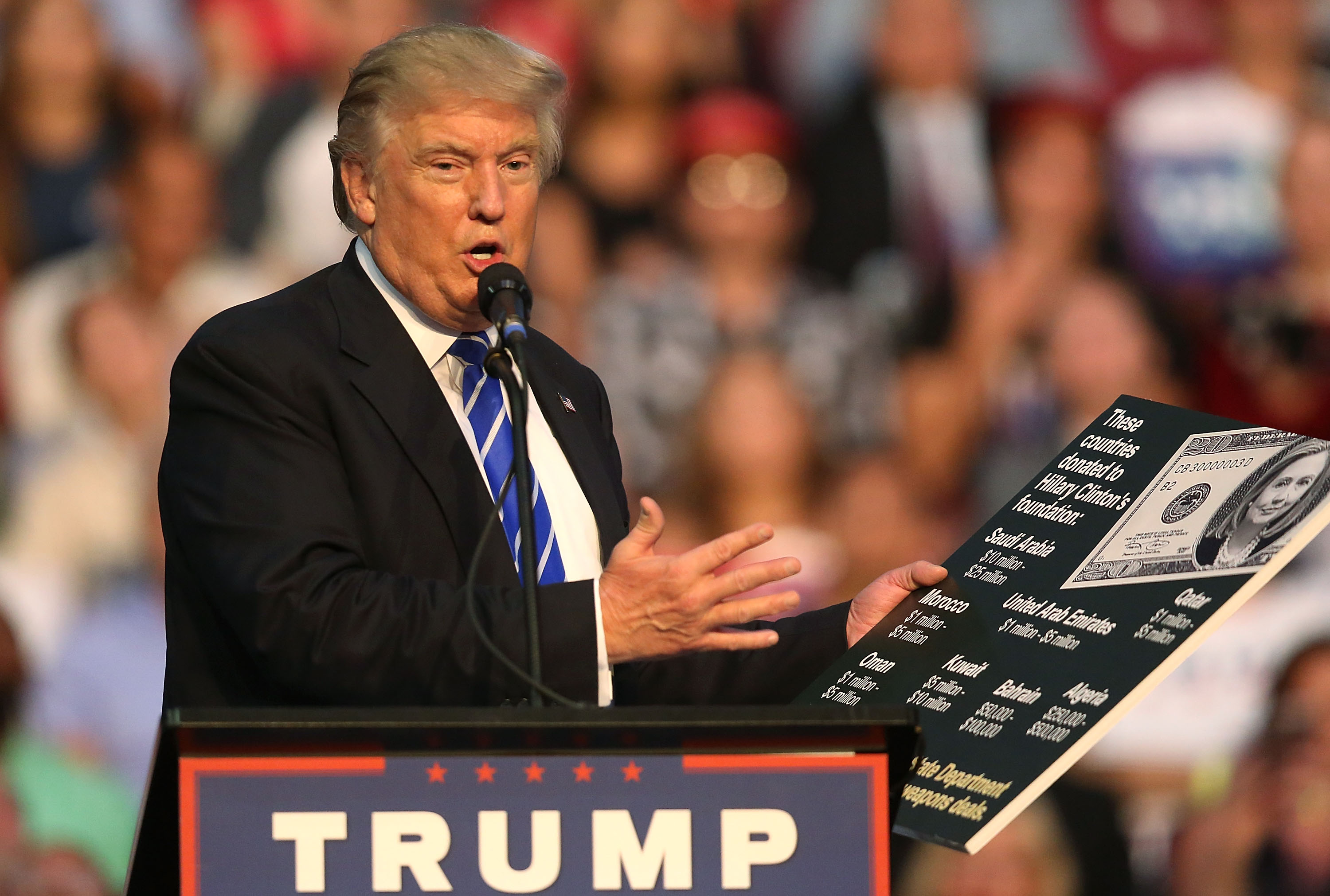 Republican presidential nominee Donald Trump holds up a chart as he makes a point as he speaks during his campaign event at the BB&T Center on August 10, 2016 in Fort Lauderdale, Florida.