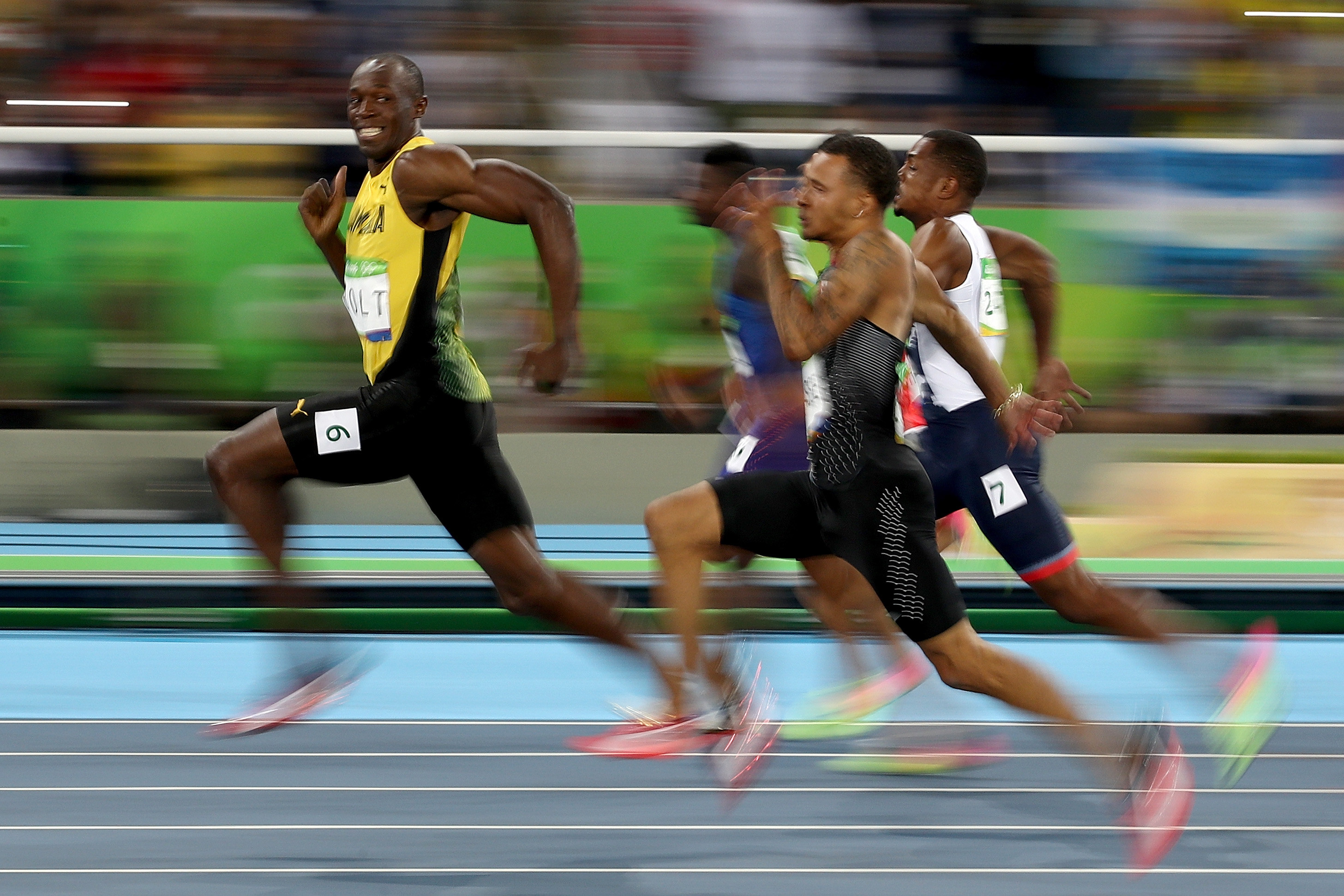 Usain Bolt of Jamaica competes in the Men's 100 meter semifinal on Day 9 of the Rio 2016 Olympic Games in Rio de Janeiro on Aug.14, 2016.