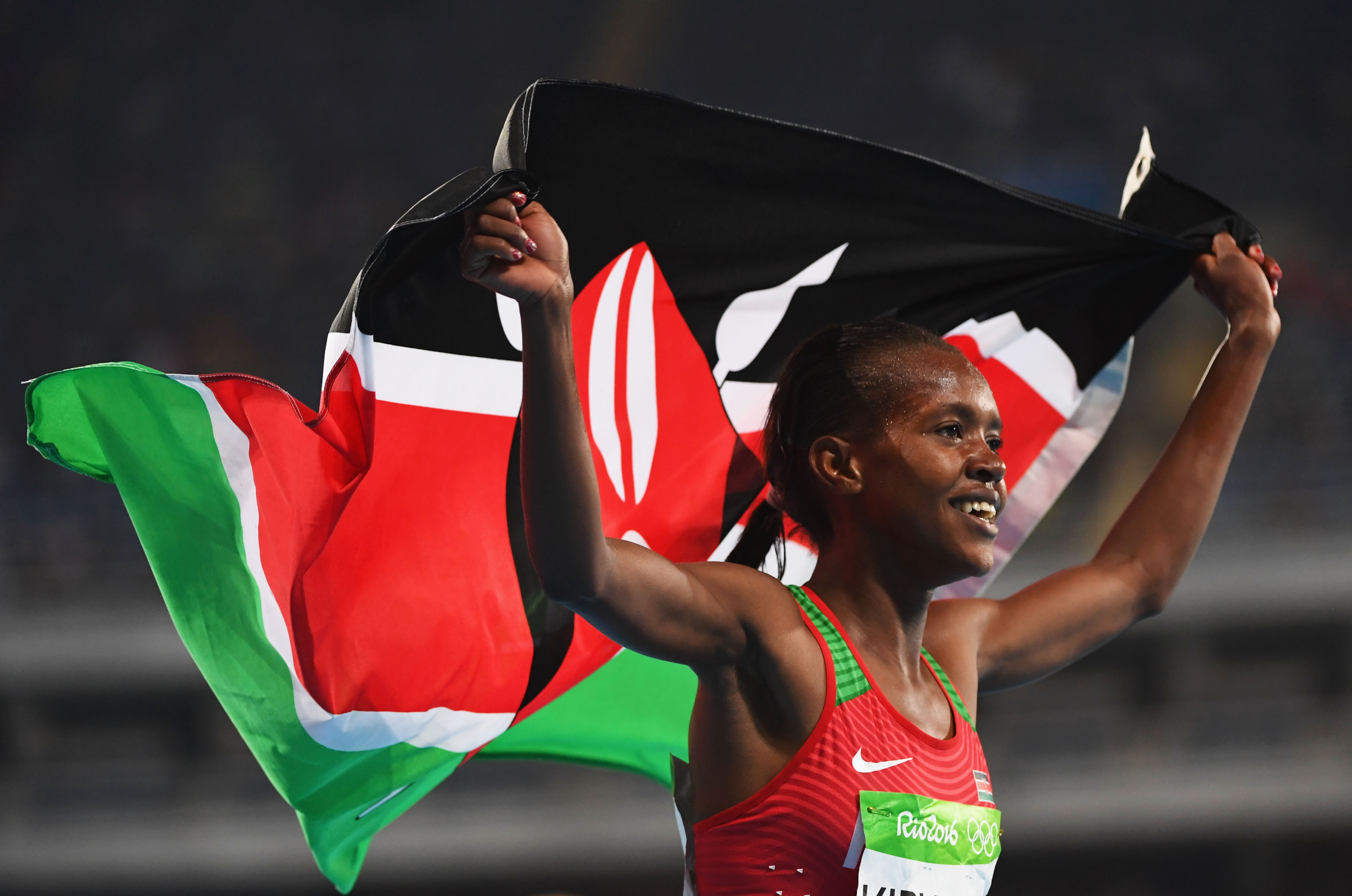 Faith Chepngetich Kipyegon of Kenya celebrates after winning the gold medal in the Women's 1500m Final on Day 11 of the Rio 2016 Olympic Games on Aug. 16, 2016.