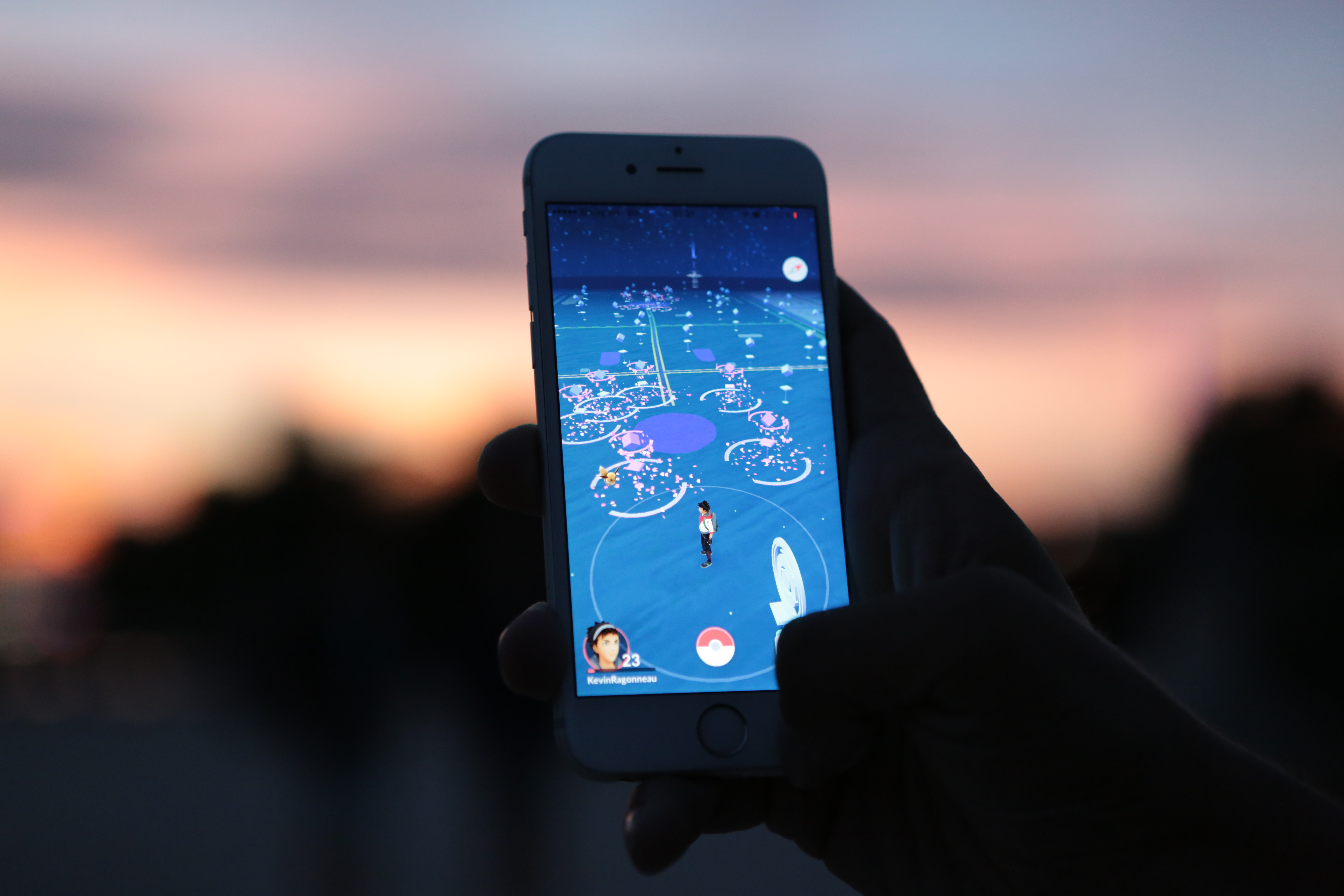 A man plays Nintendo Co.'s Pokemon Go augmented-reality game on August 17, 2016 in Paris, France.