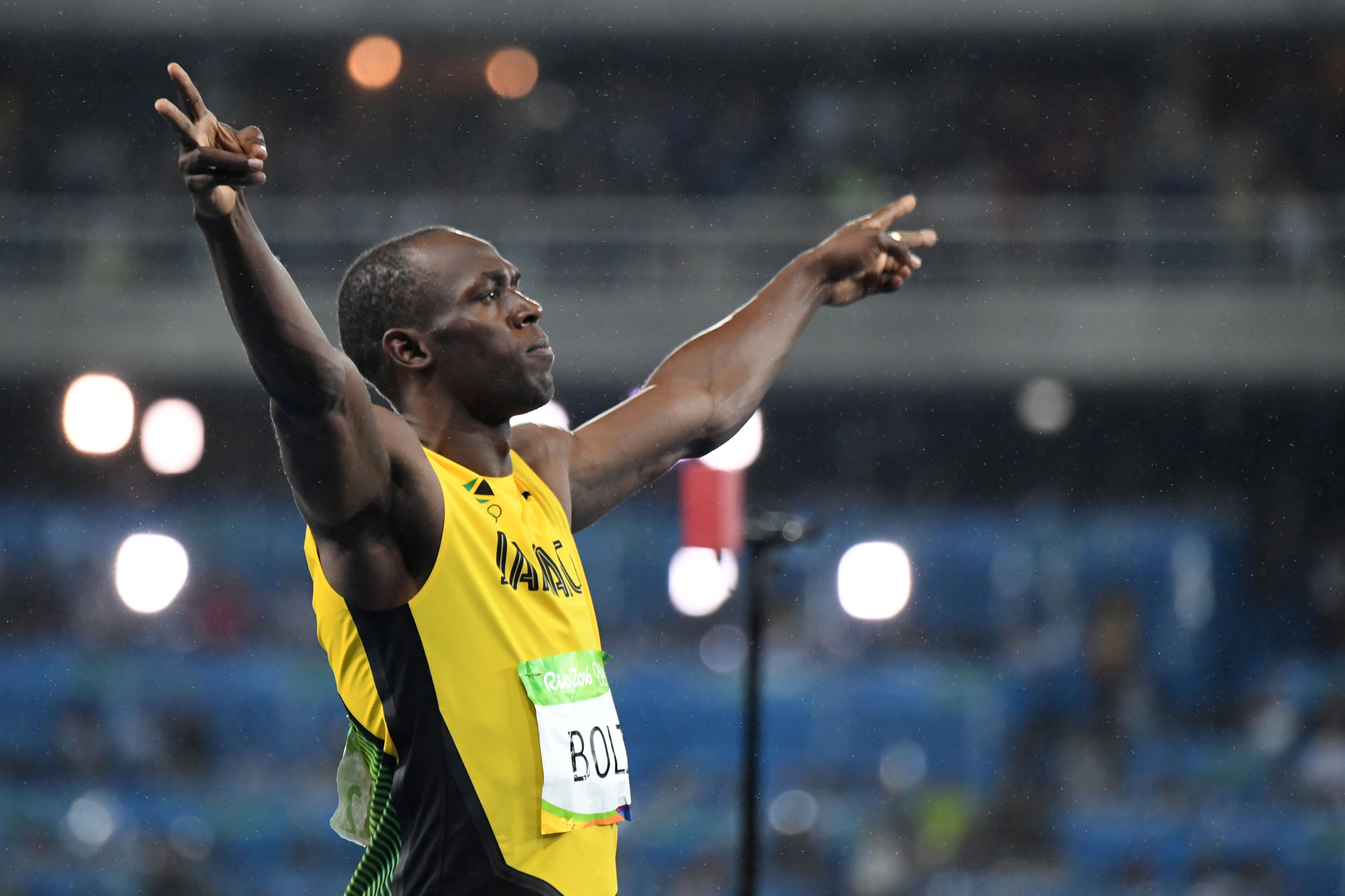 Jamaica's Usain Bolt celebrates after he won the Men's 200m Final during the athletics event at the Rio 2016 Olympic Games at the Olympic Stadium in Rio de Janeiro on Aug. 18, 2016.