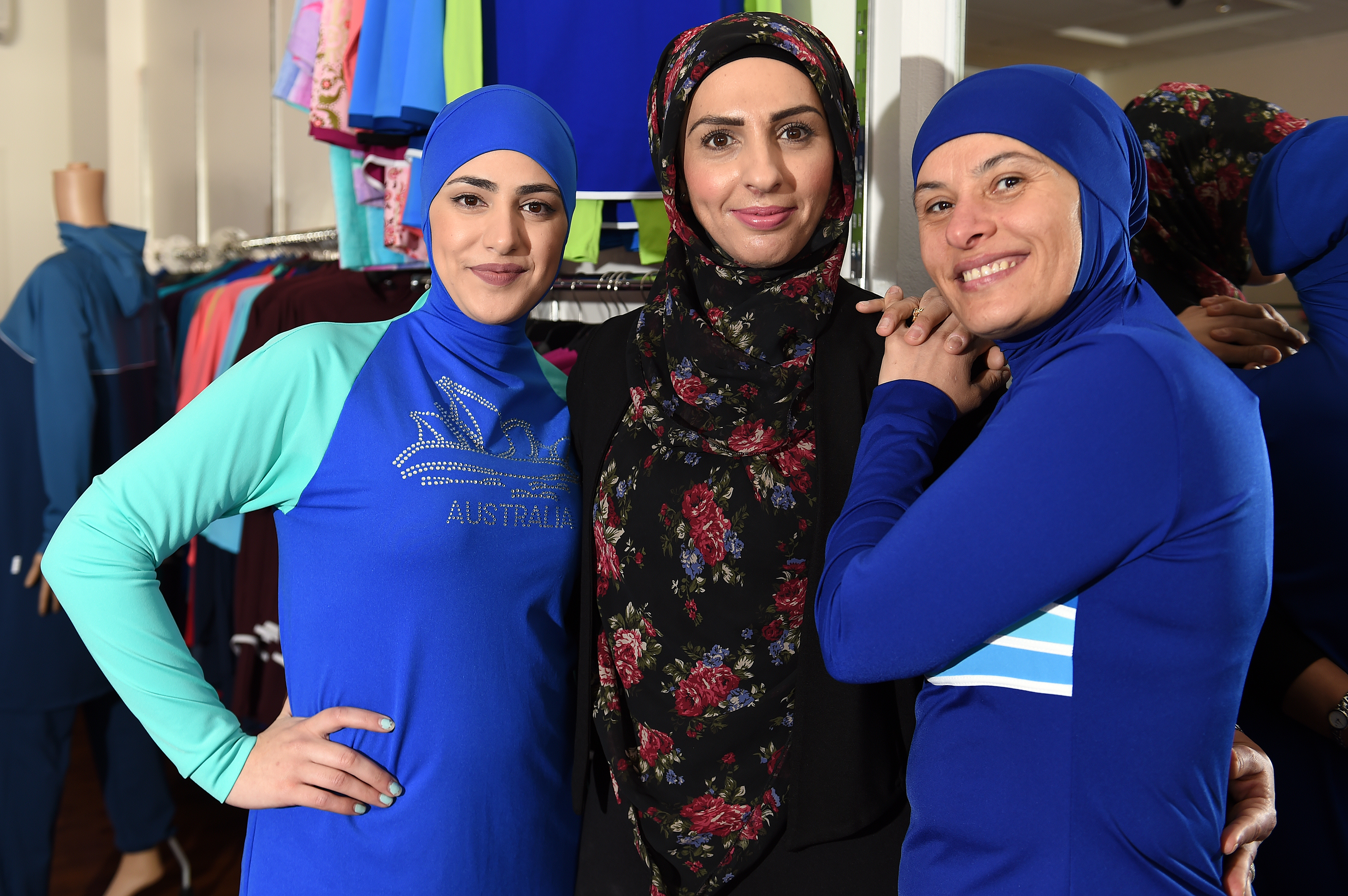 Muslim models display burkini swimsuits at a shop in western Sydney on August 19, 2016.