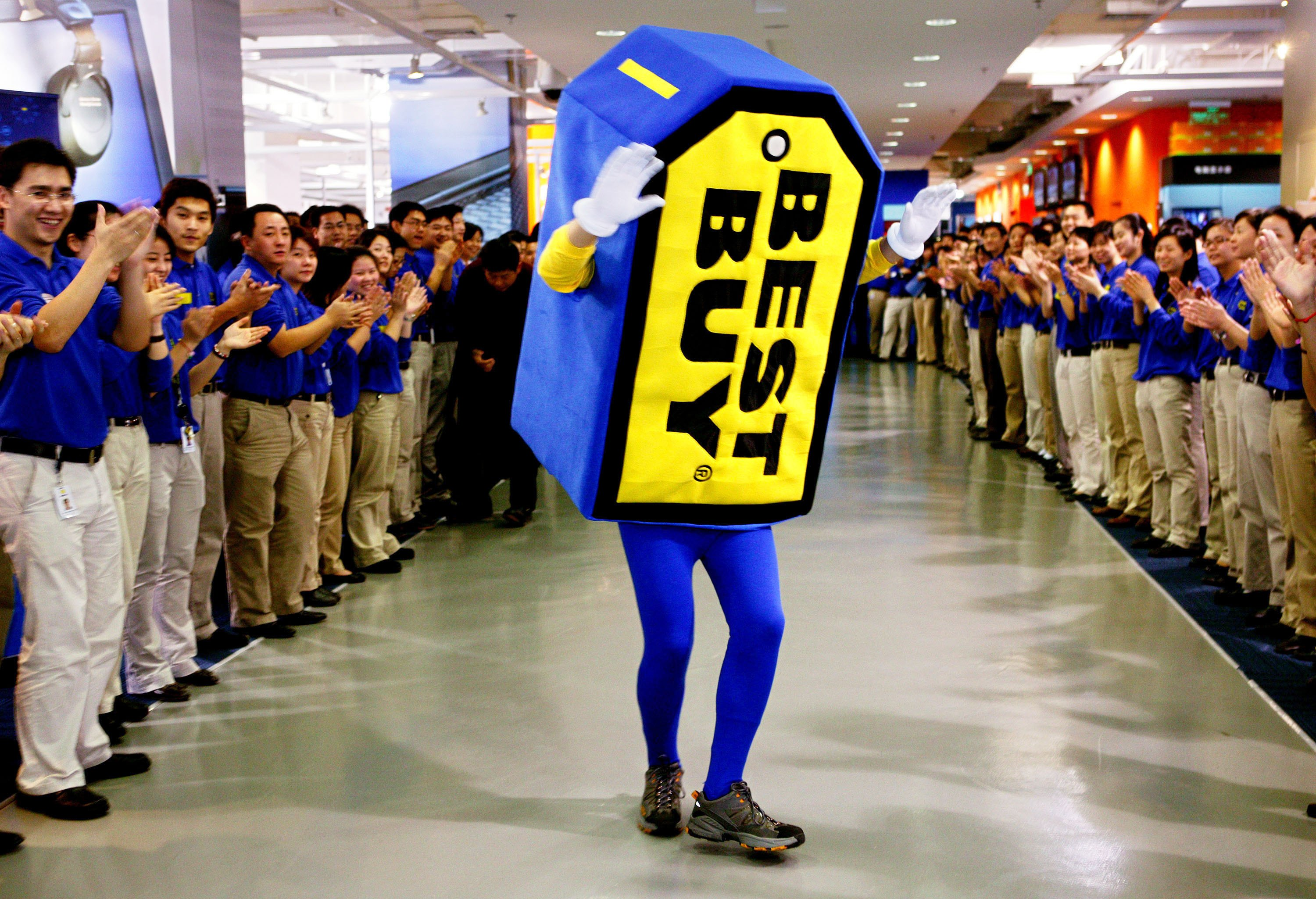 A man wears Best Buy logo for promotion for the Best Buy store opening in the last week of December on December 26, 2006, in Shanghai, China.