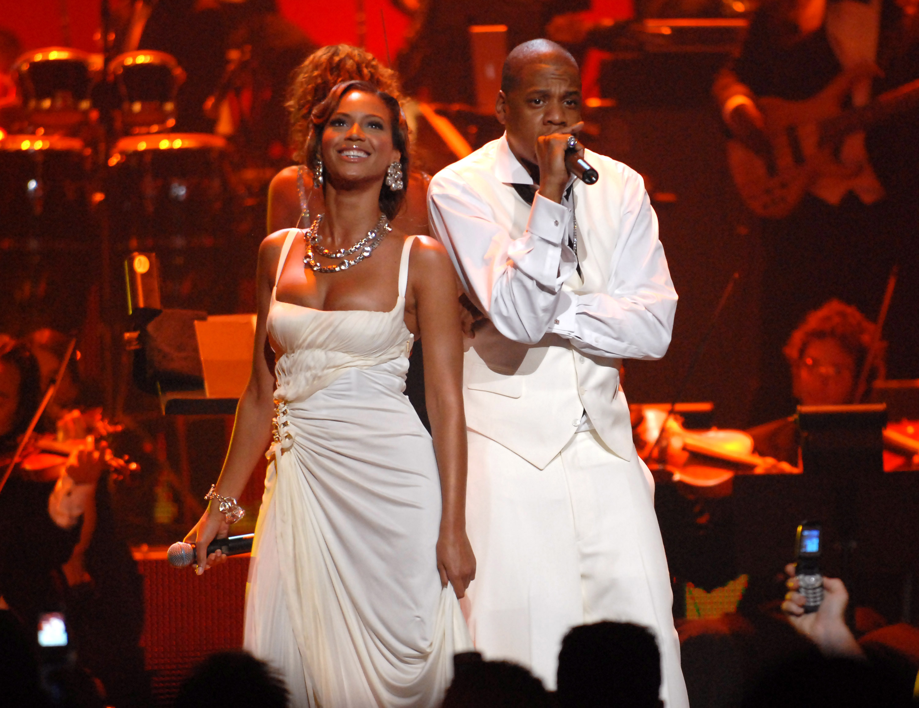 Beyonce Knowles and Jay-Z at the Radio City Music Hall in New York City (Photo by Kevin Mazur/WireImage)