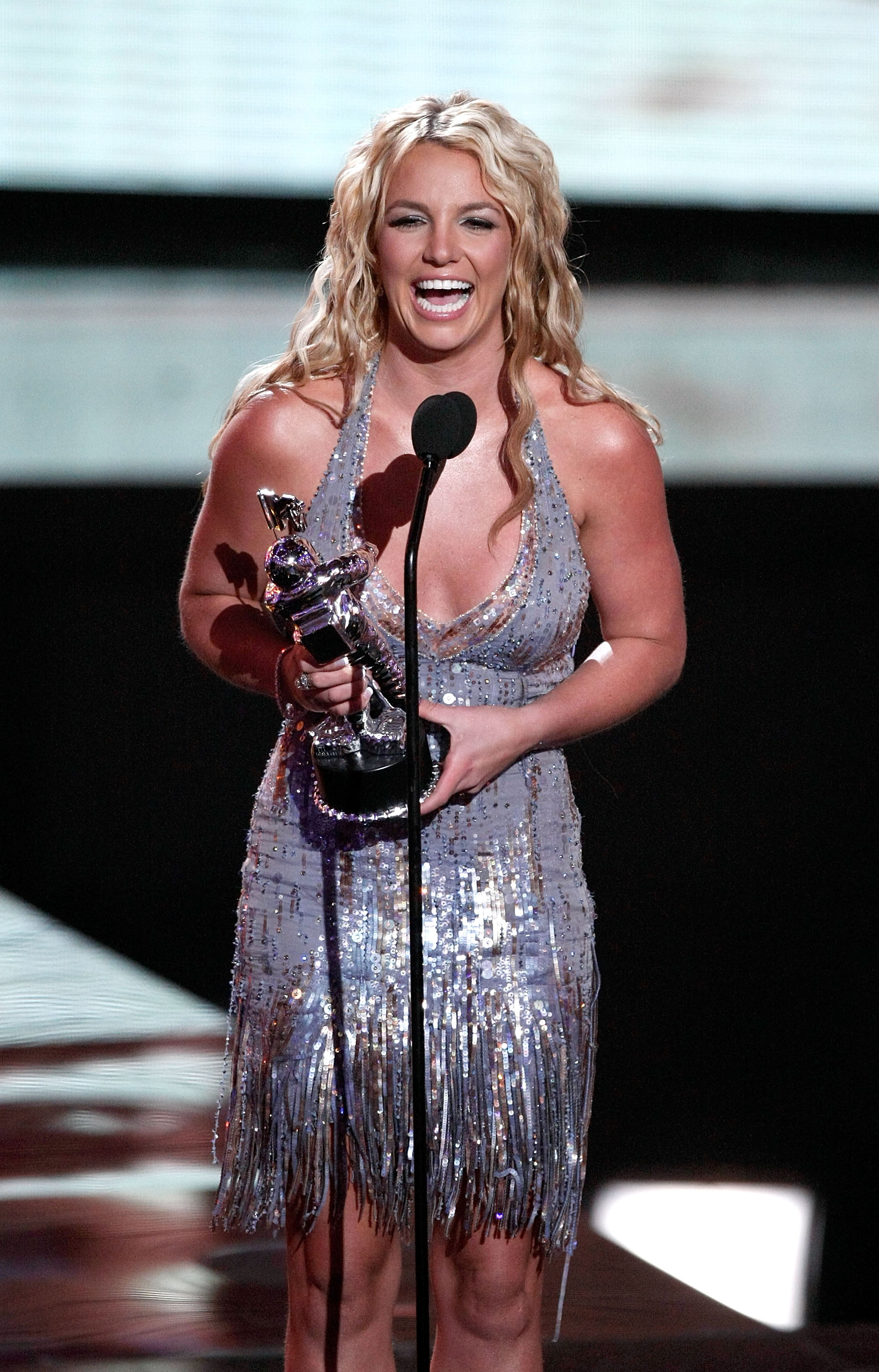 Britney Spears accepts the Best Female Video award for  Piece of Me  on stage at the 2008 MTV Video Music Awards at Paramount Pictures Studios on September 7, 2008 in Los Angeles, California. (Photo by Kevin Winter/Getty Images)