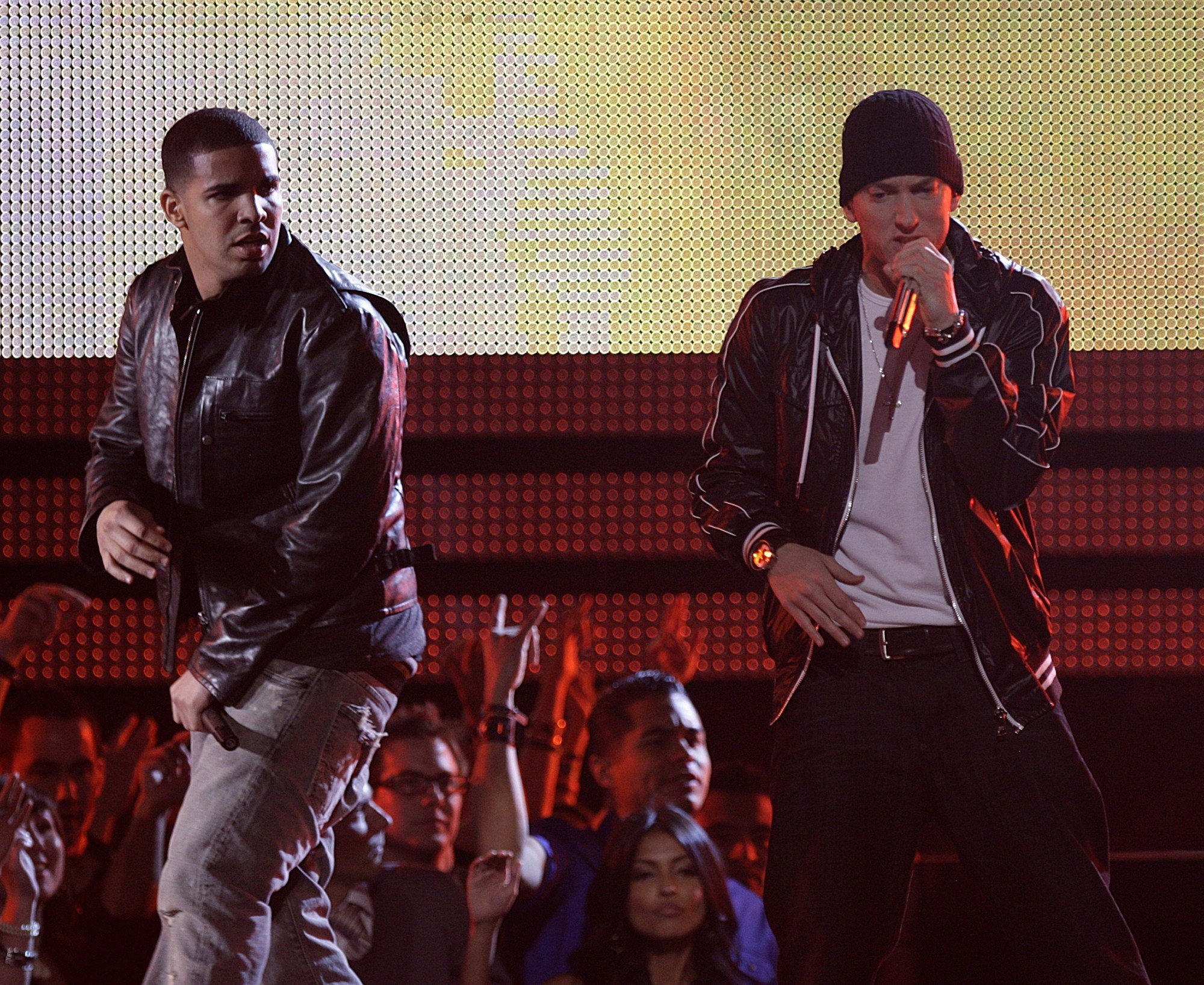 Eminem and Drake perform at the 52nd Annual Grammy Awards, being broadcast live from STAPLES Center in Los Angeles on Feb. 5, 2016.