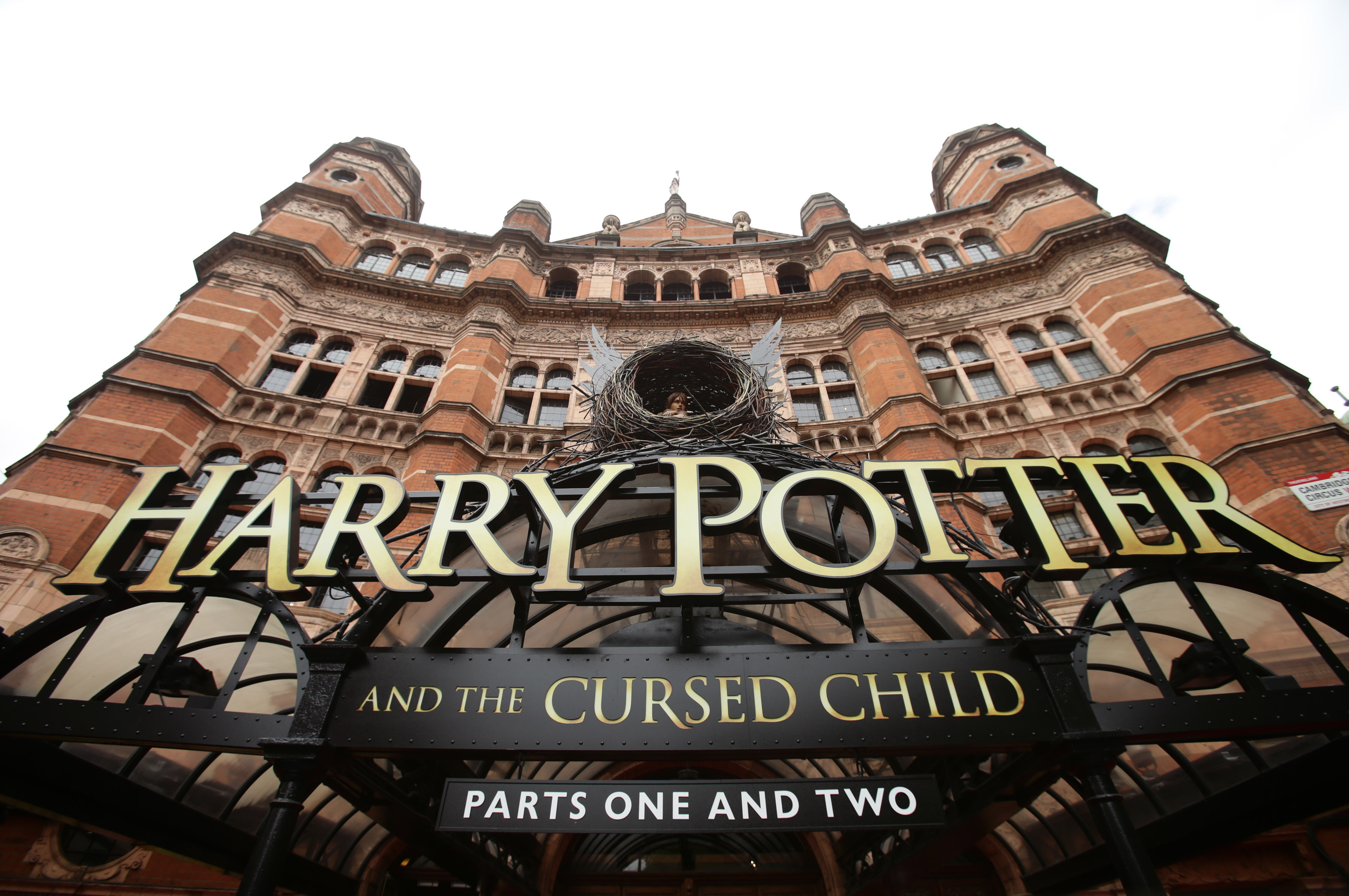 File photo dated 30/07/16 of a general view of the sign for the theatre show of Harry Potter and The Cursed Child, at the Palace Theatre in London