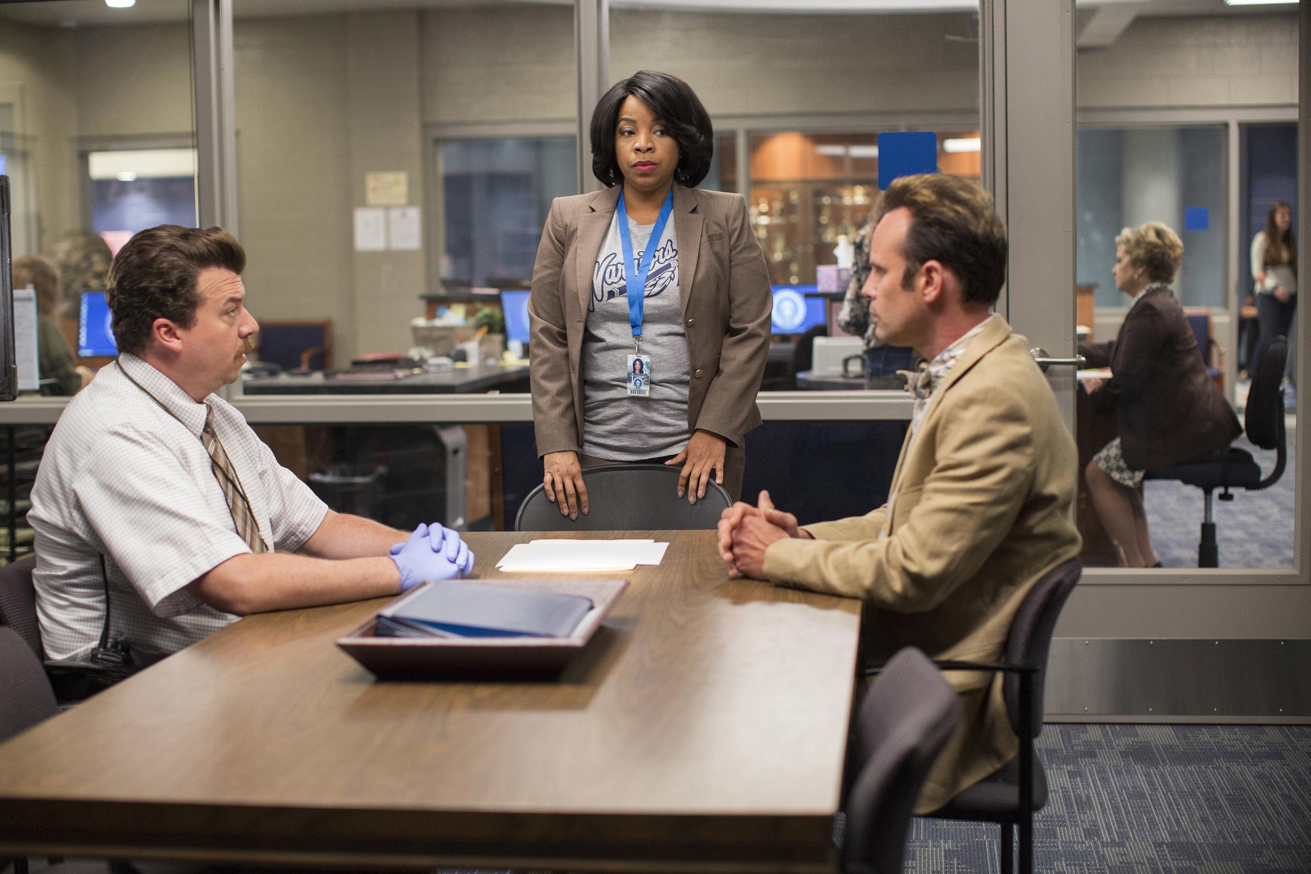 Danny McBride, Kimberly Hébert Gregory, Walton Goggins on set of  Vice Principals